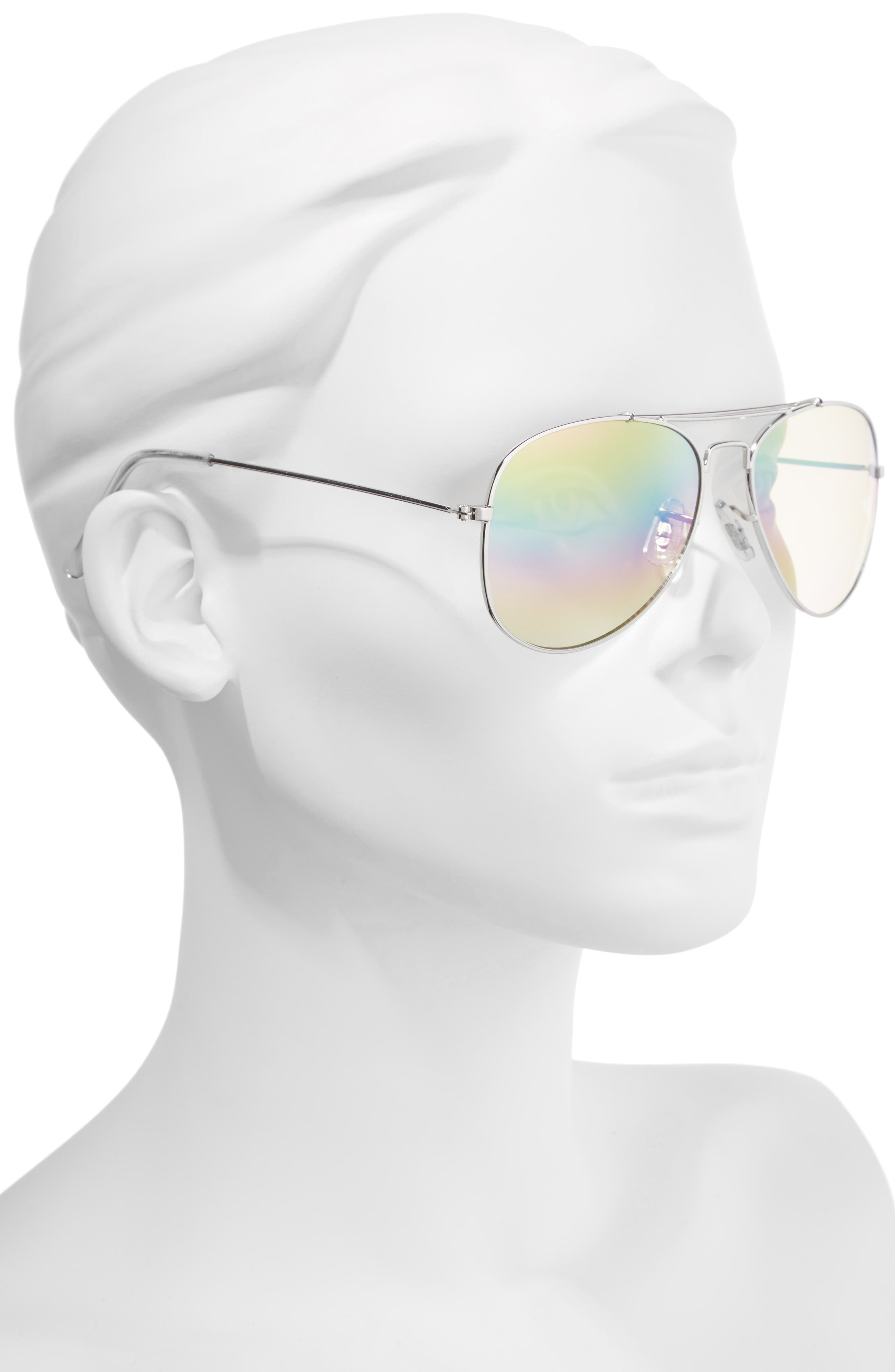 Rainbow Aviator Sunglasses,                             Alternate thumbnail 2, color,                             Silver/ Multi