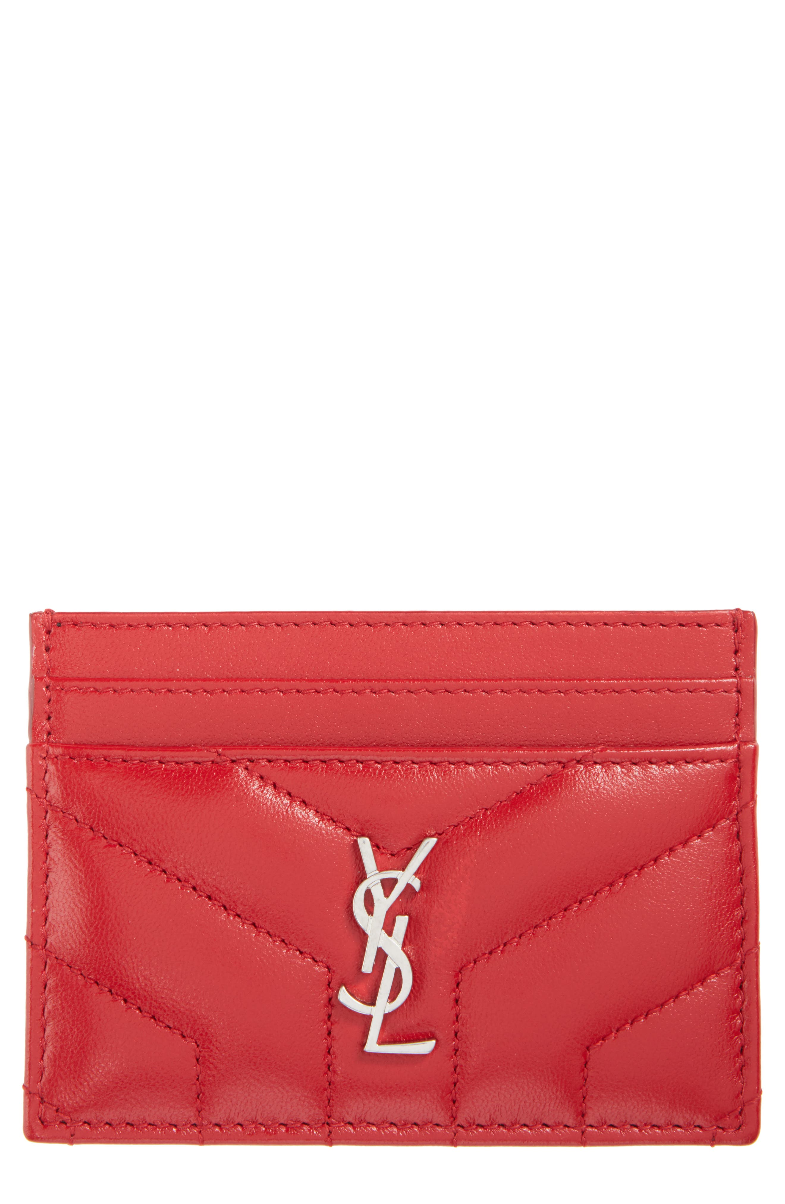 Main Image - Saint Laurent Loulou Monogram Quilted Leather Credit Card Case