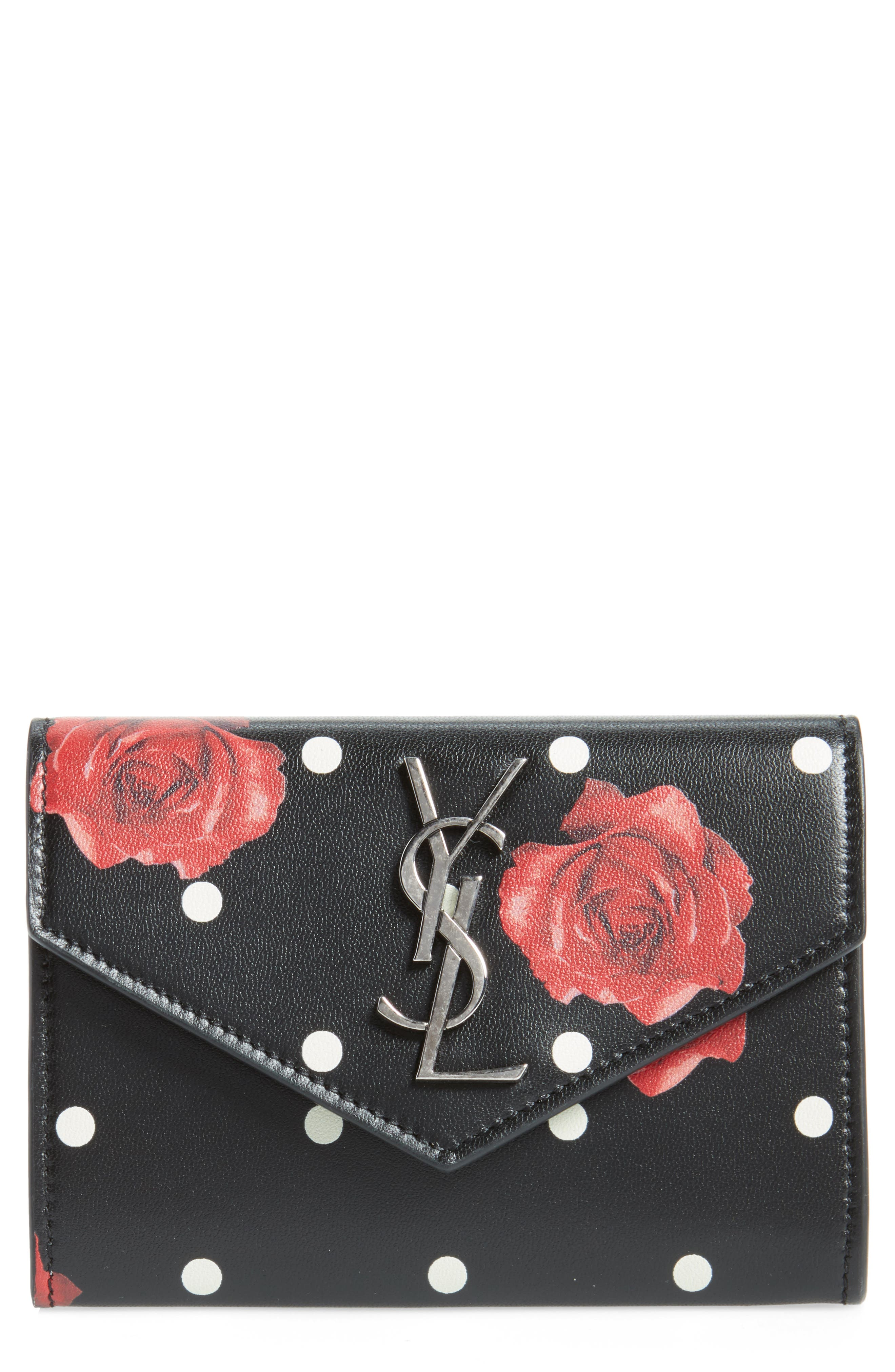 Rose & Polka Dot Small Leather French Wallet,                             Main thumbnail 1, color,                             Black/ Multi