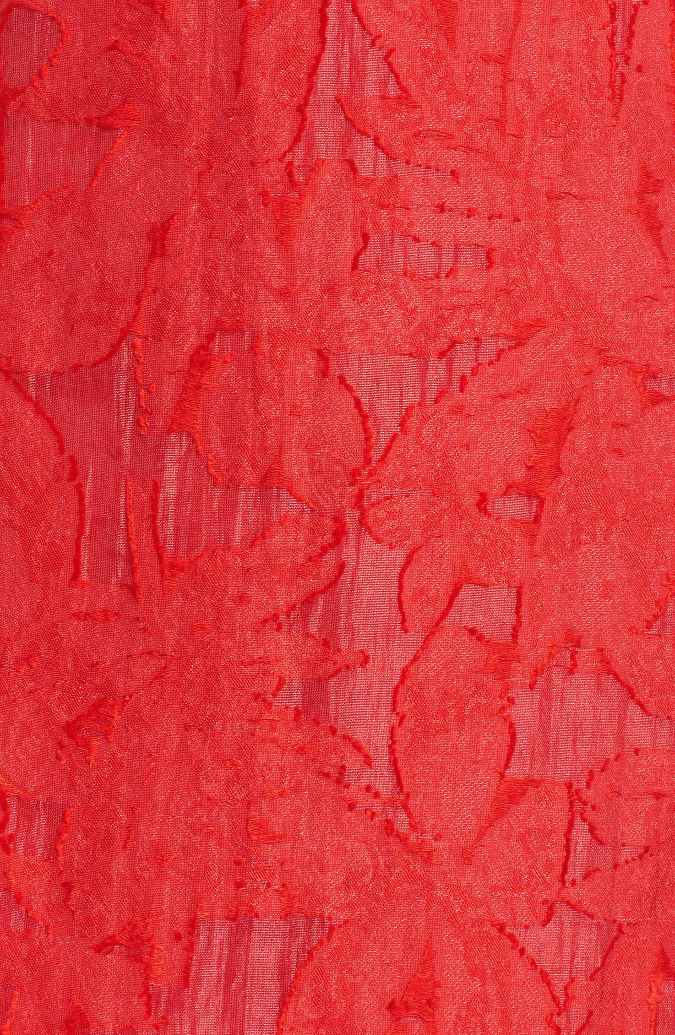 Organza Ruffle Sheath Dress,                             Alternate thumbnail 5, color,                             Red