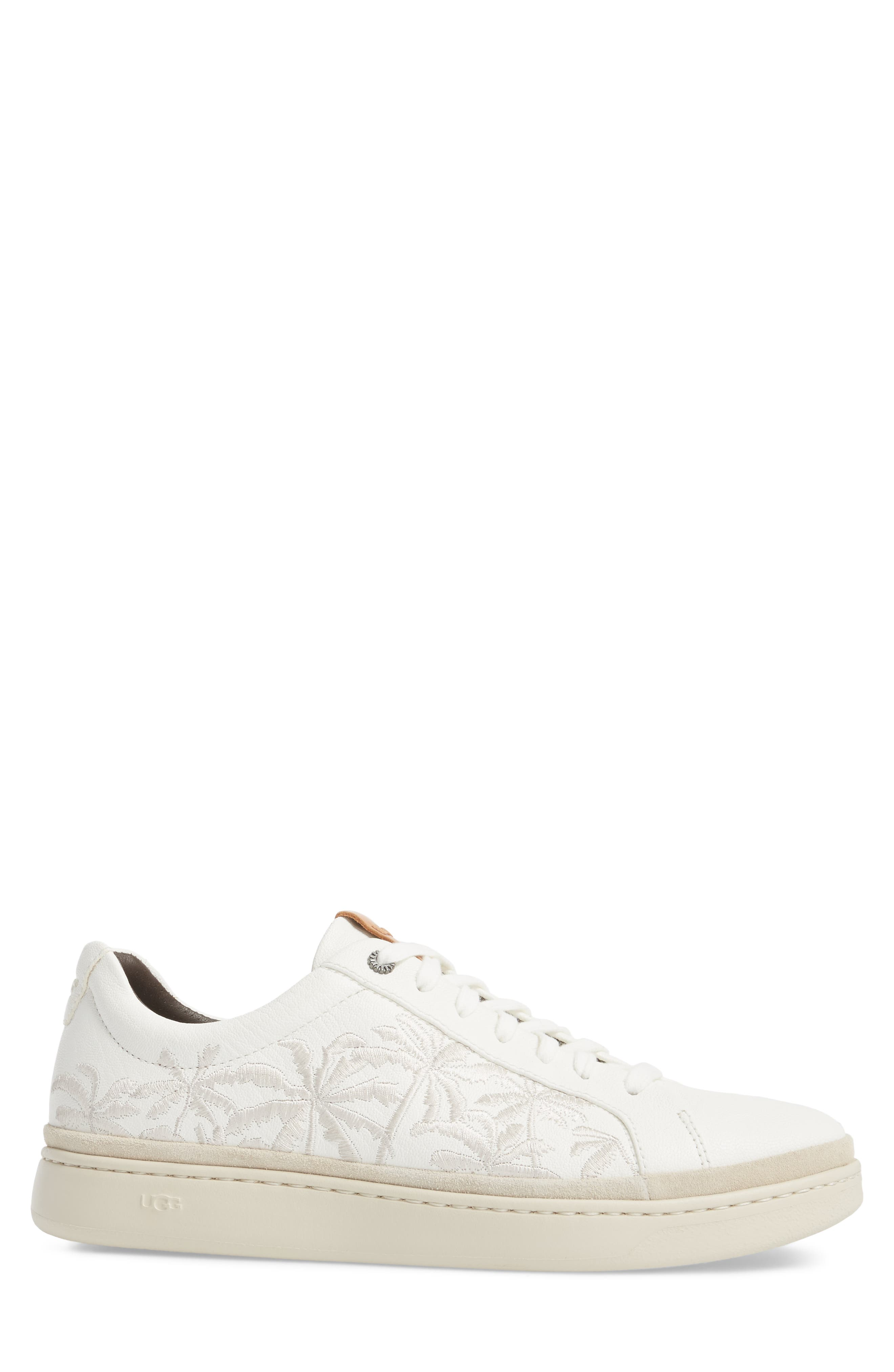 Palm Embroidered Sneaker,                             Alternate thumbnail 3, color,                             White Leather