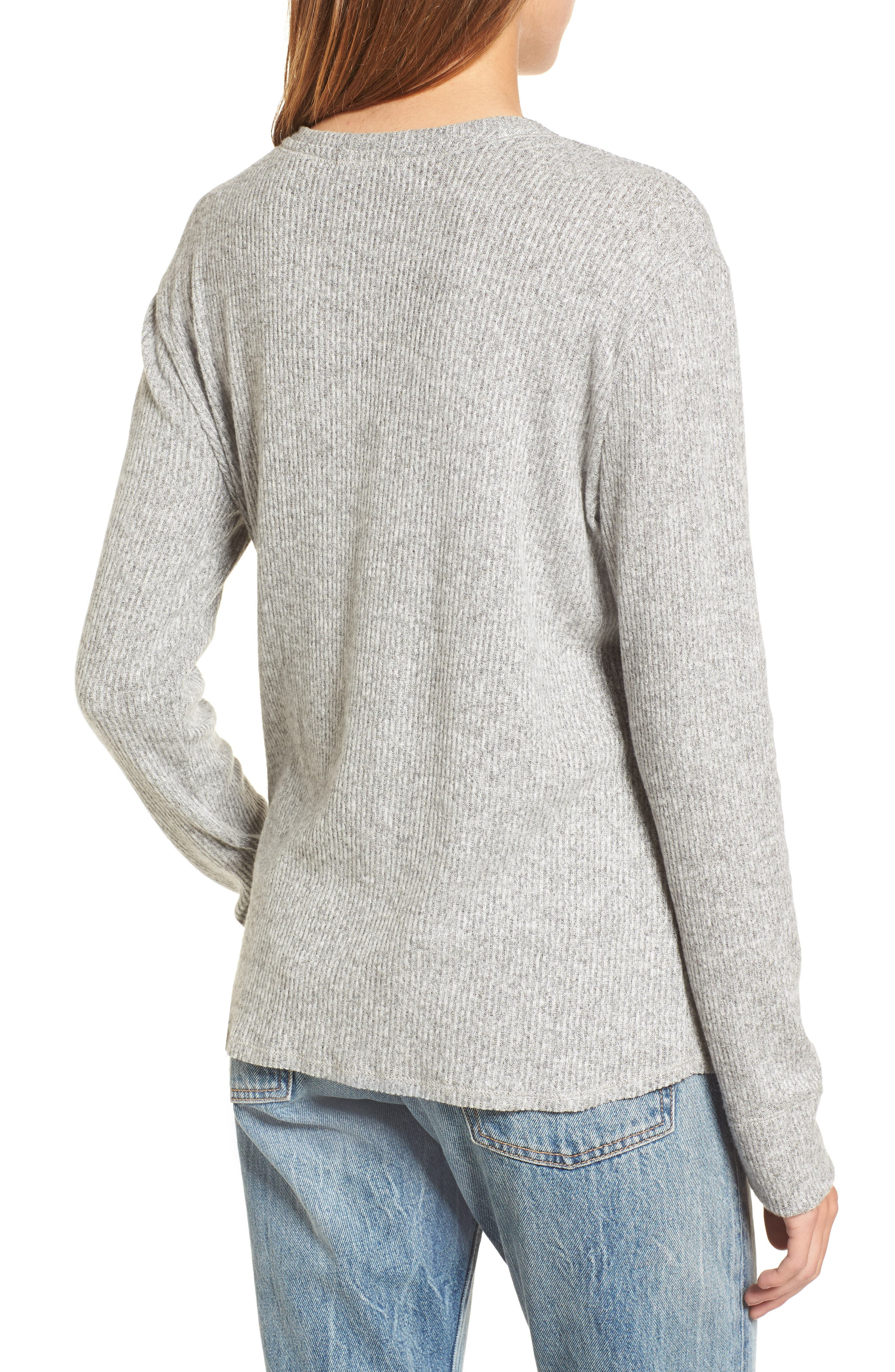 Ribbed Split Neck Sweater,                             Alternate thumbnail 2, color,                             Grey