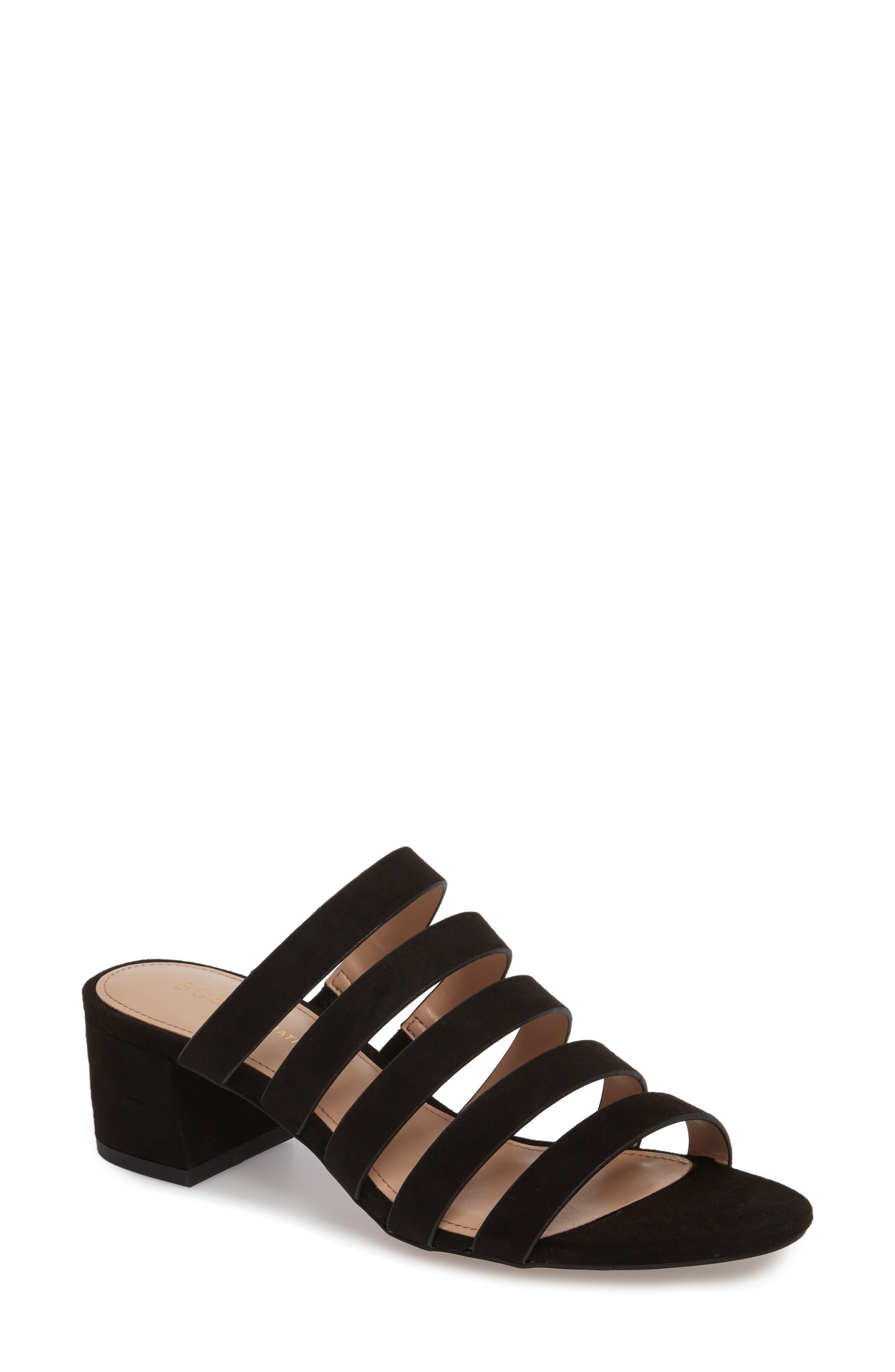 Frankie Slide Sandal,                         Main,                         color, Black Micro Suede