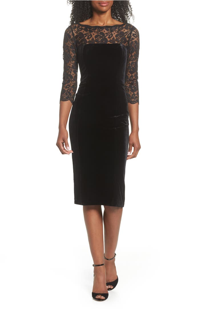 Eliza J Lace Amp Velvet Sheath Dress Nordstrom