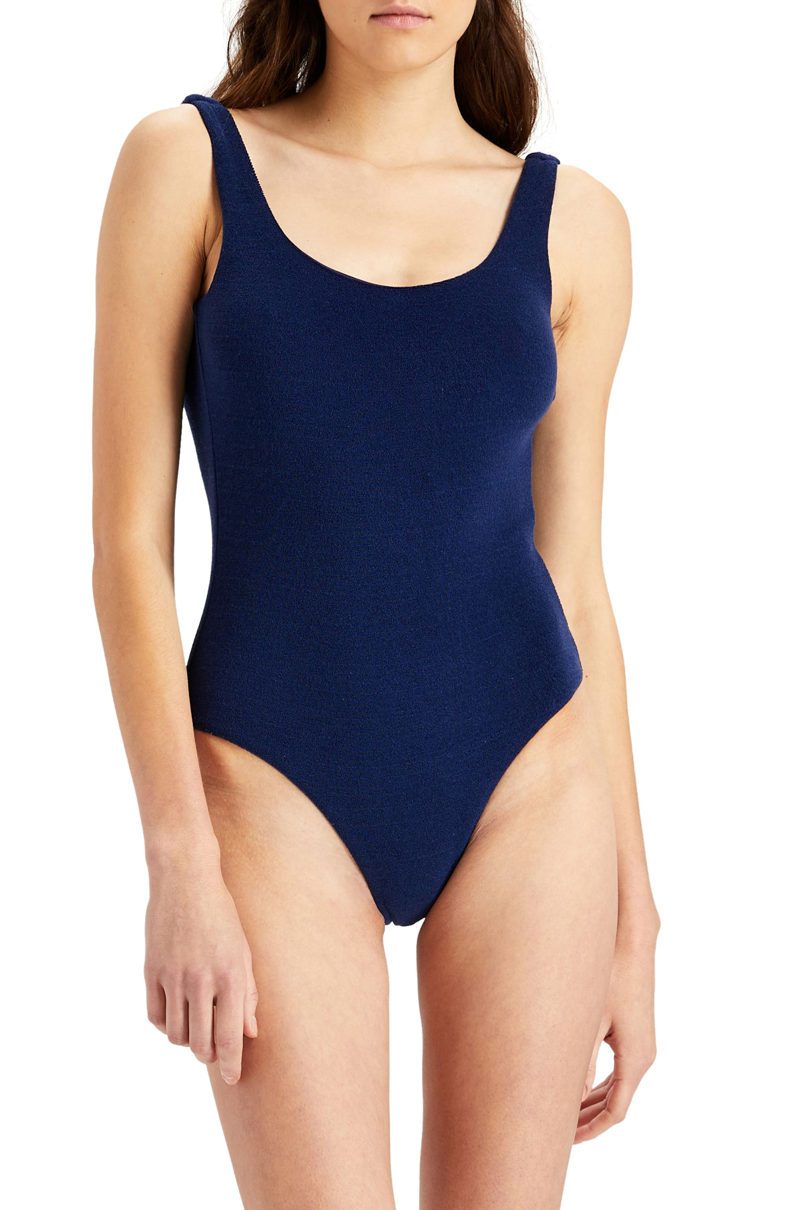 Kelly Low Back One-Piece Swimsuit,                             Main thumbnail 1, color,                             Blue Shadow