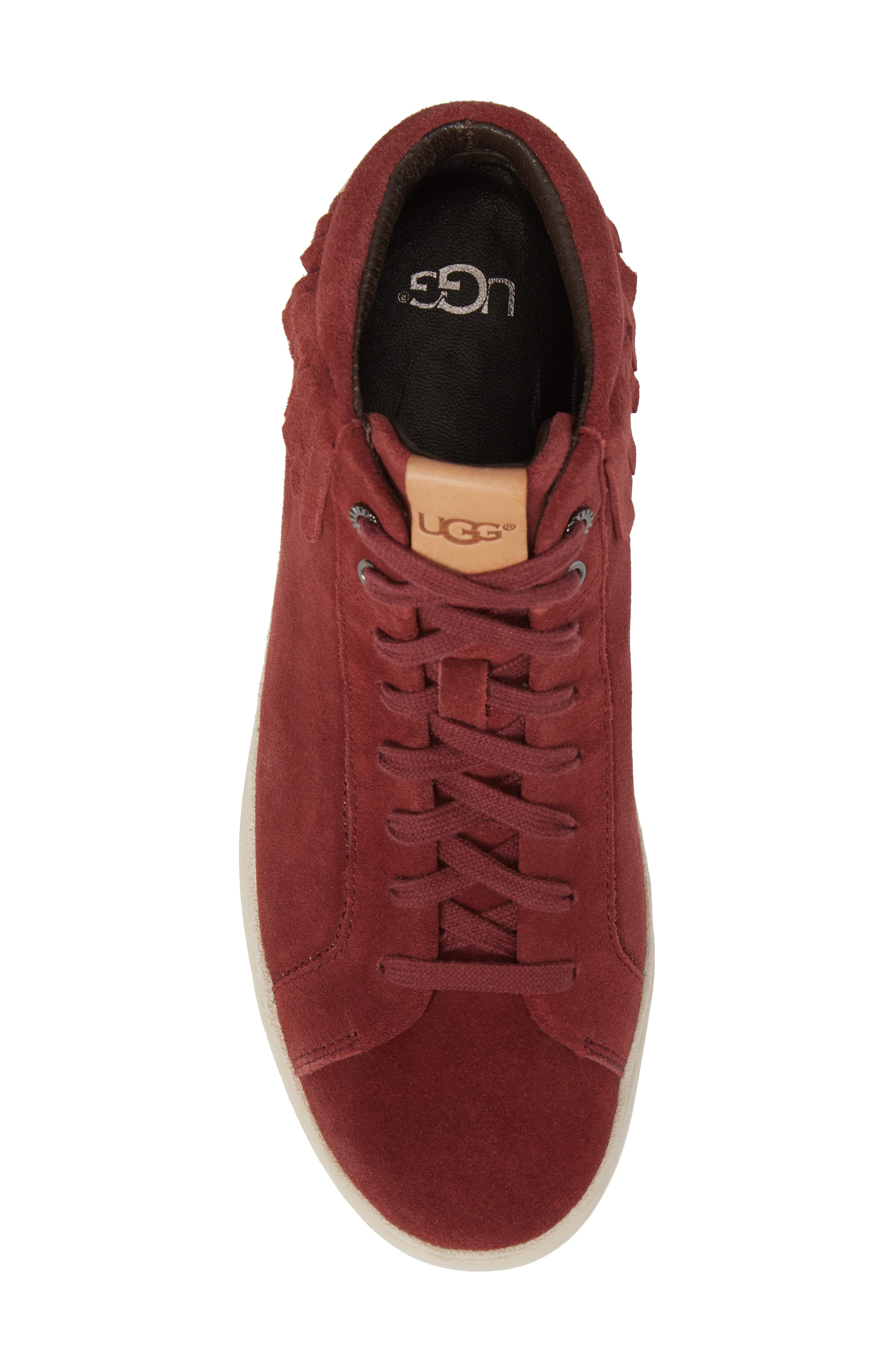 Brecken Fringe High-Top Sneaker,                             Alternate thumbnail 5, color,                             Pinot Noir Leather