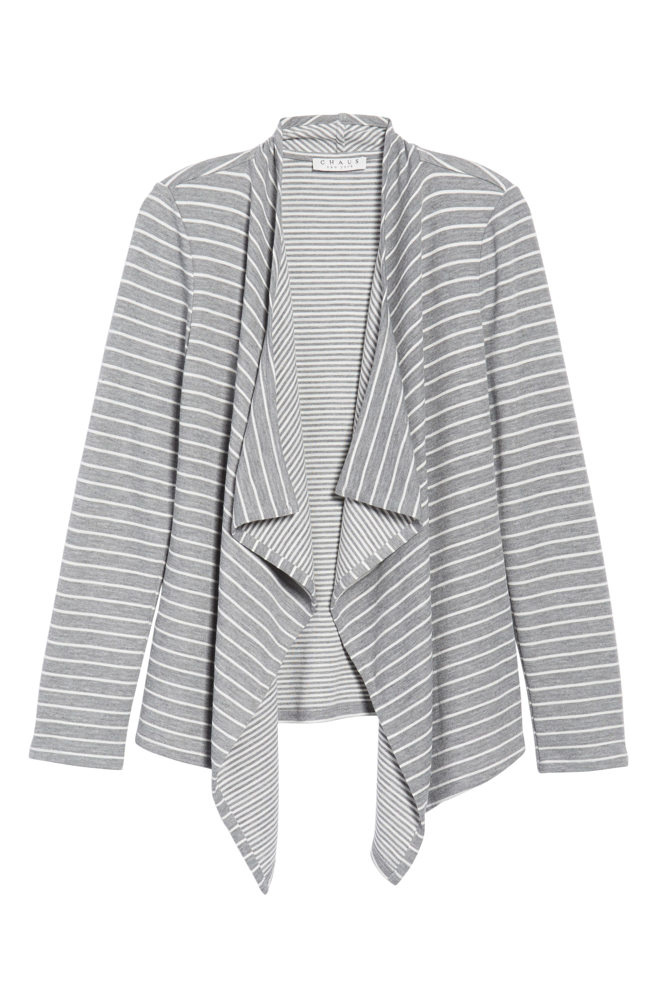 Mixed Stripe Cardigan,                             Alternate thumbnail 6, color,                             050-Grey Heather