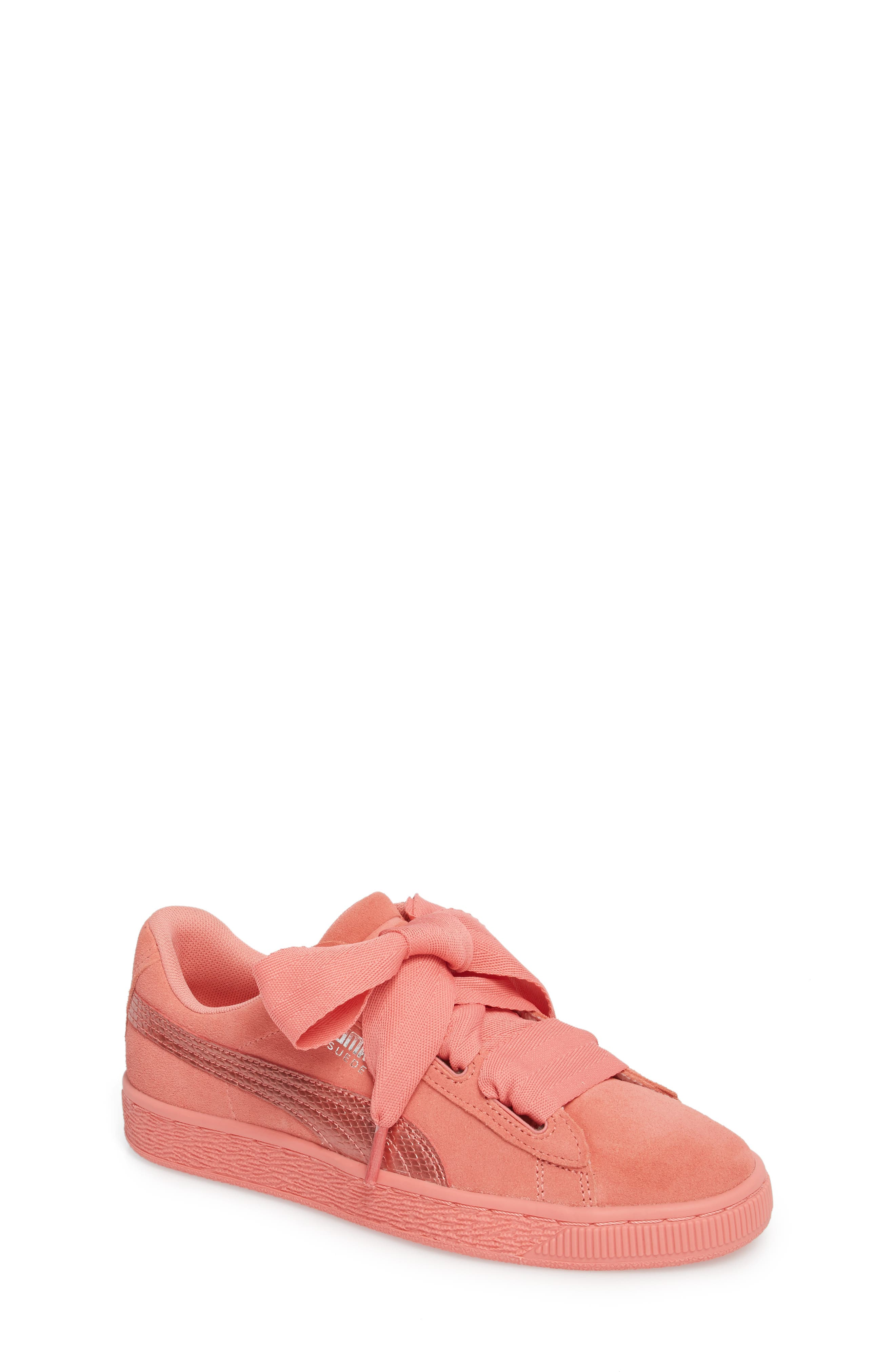 Suede Heart Sneaker,                         Main,                         color, Shell Pink/ Shell Pink