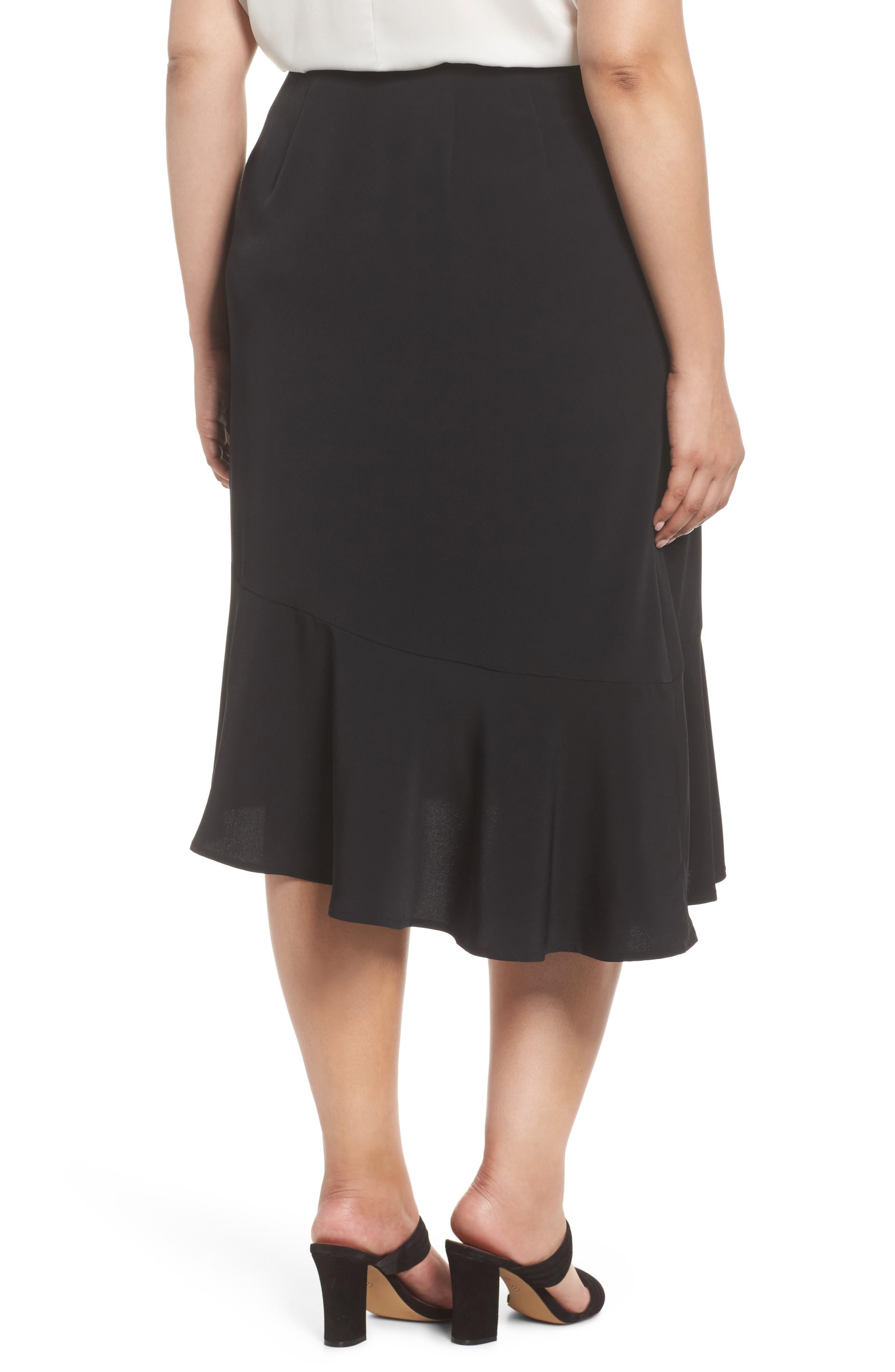 Slit Hem Skirt,                             Alternate thumbnail 2, color,                             Black