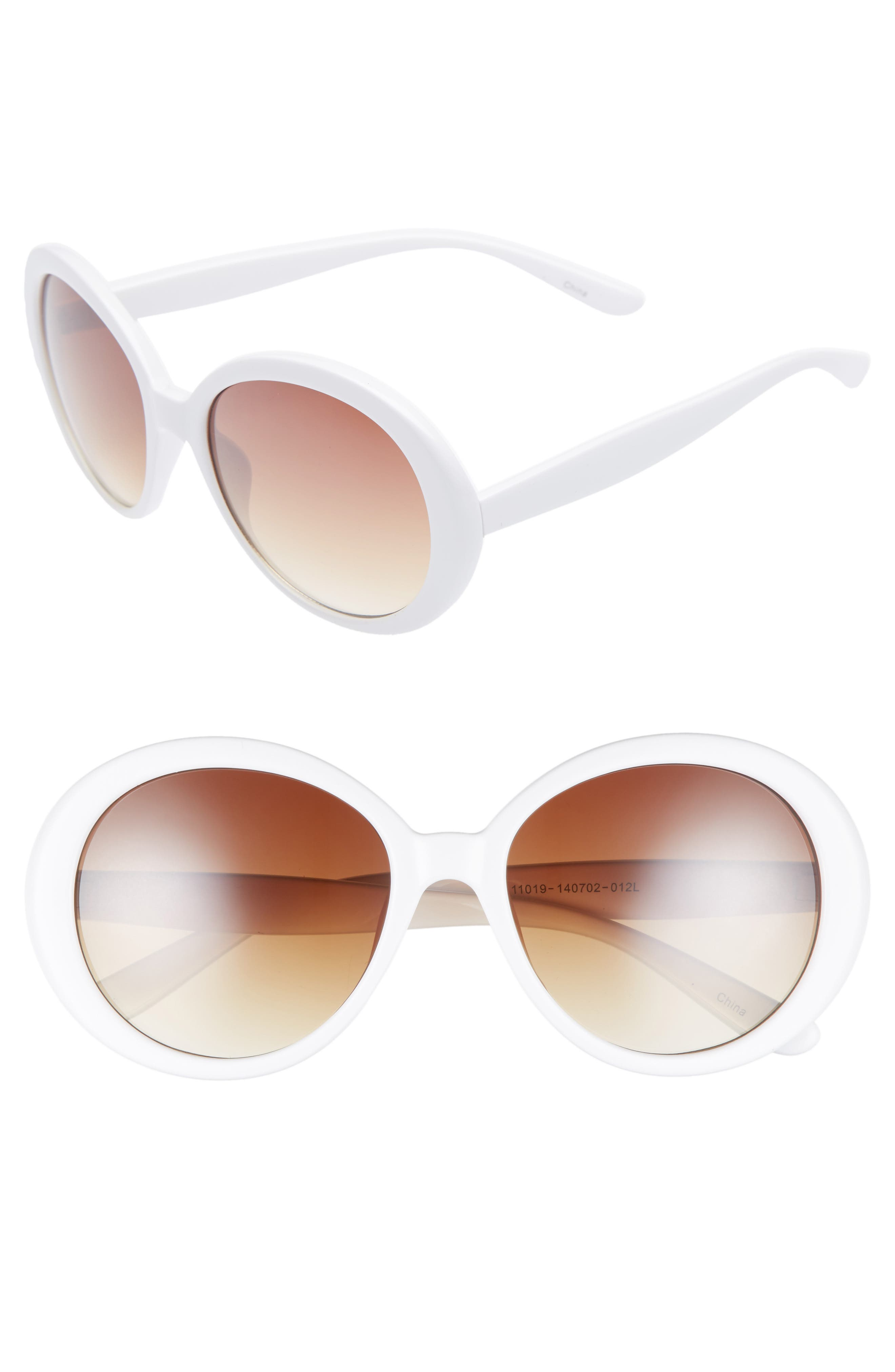 55mm Oval Sunglasses,                             Main thumbnail 1, color,                             Cream/ Brown
