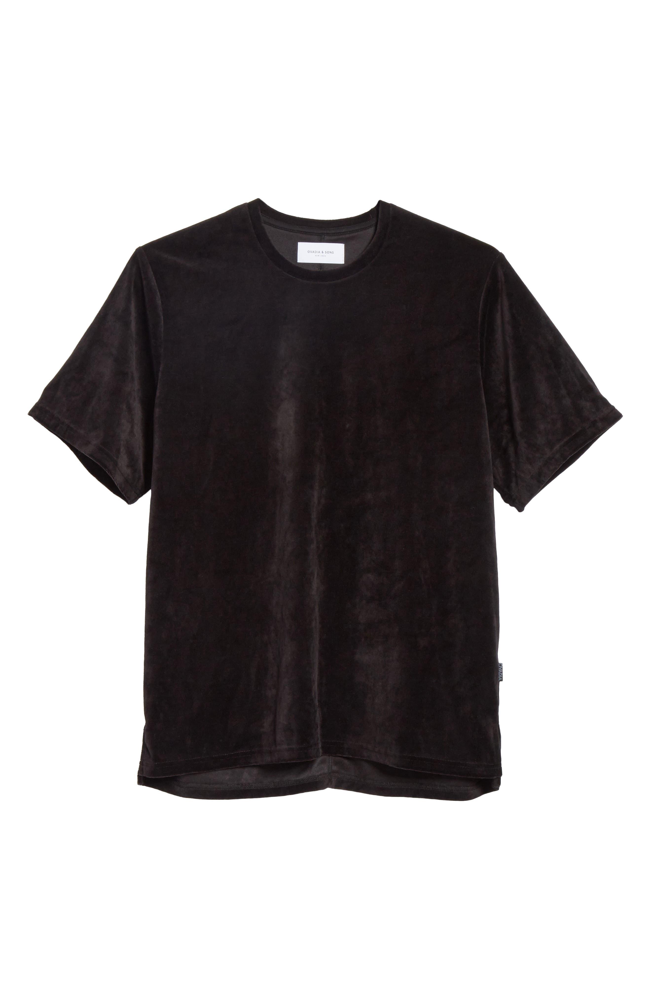Velour T-Shirt,                             Alternate thumbnail 6, color,                             Black