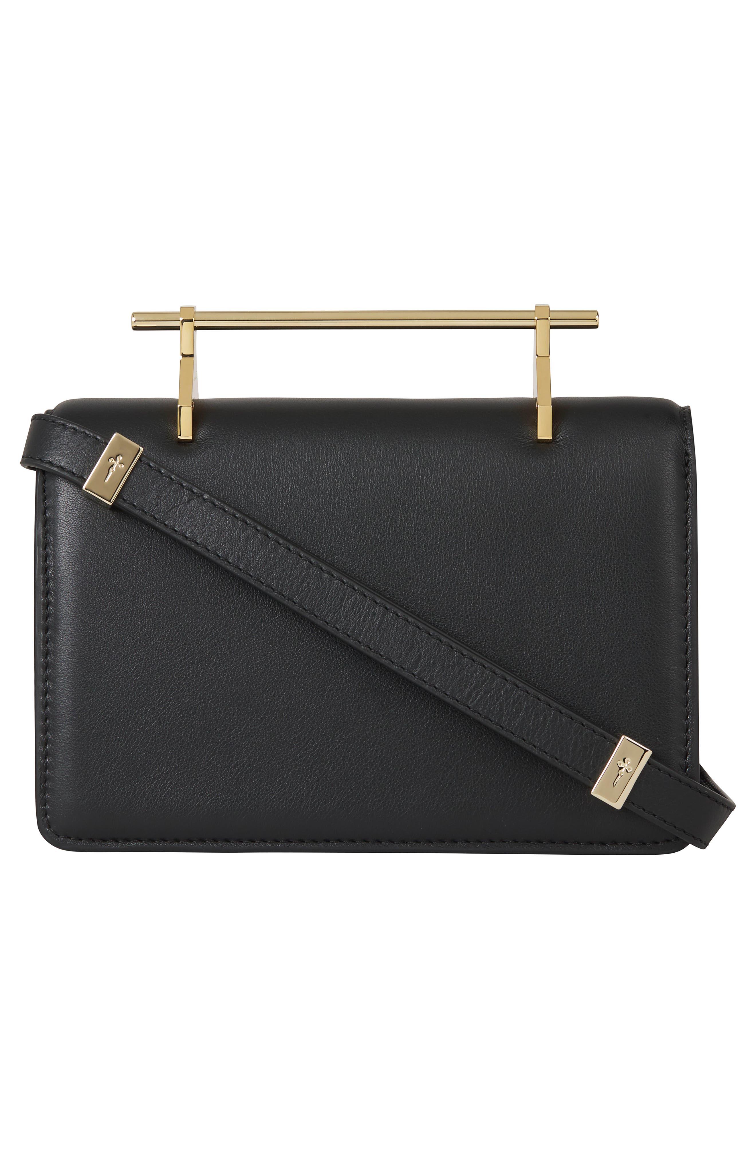 Indre Leather Shoulder Bag,                             Alternate thumbnail 2, color,                             Black/ Gold