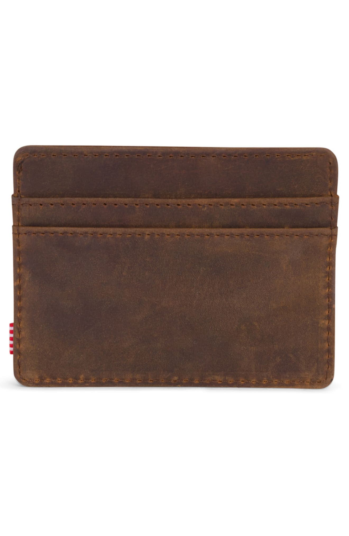 Charlie Leather Card Case,                             Alternate thumbnail 2, color,                             Brown