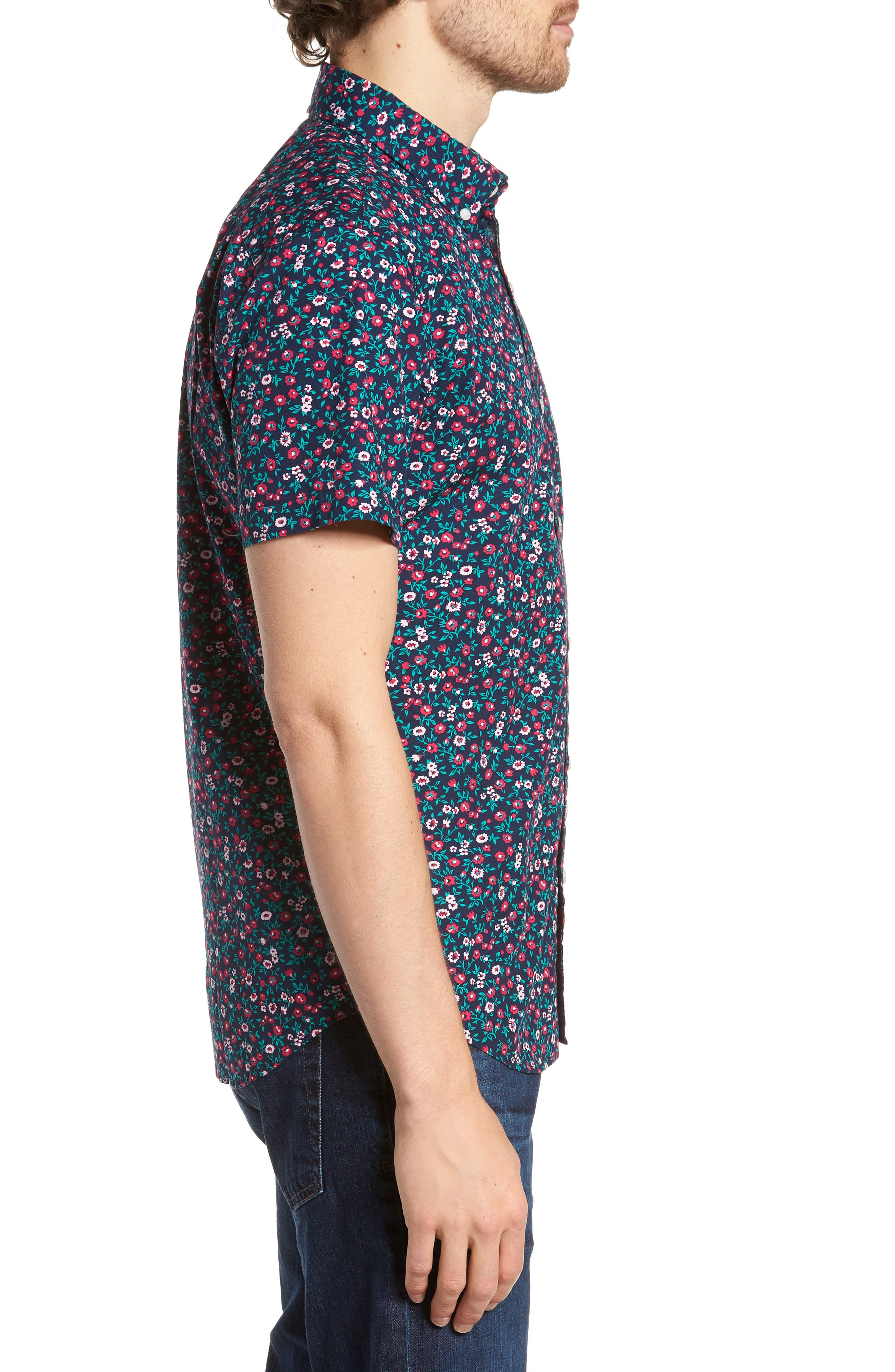 Slim Fit Print Short Sleeve Sport Shirt,                             Alternate thumbnail 4, color,                             Whitecap Floral - Red