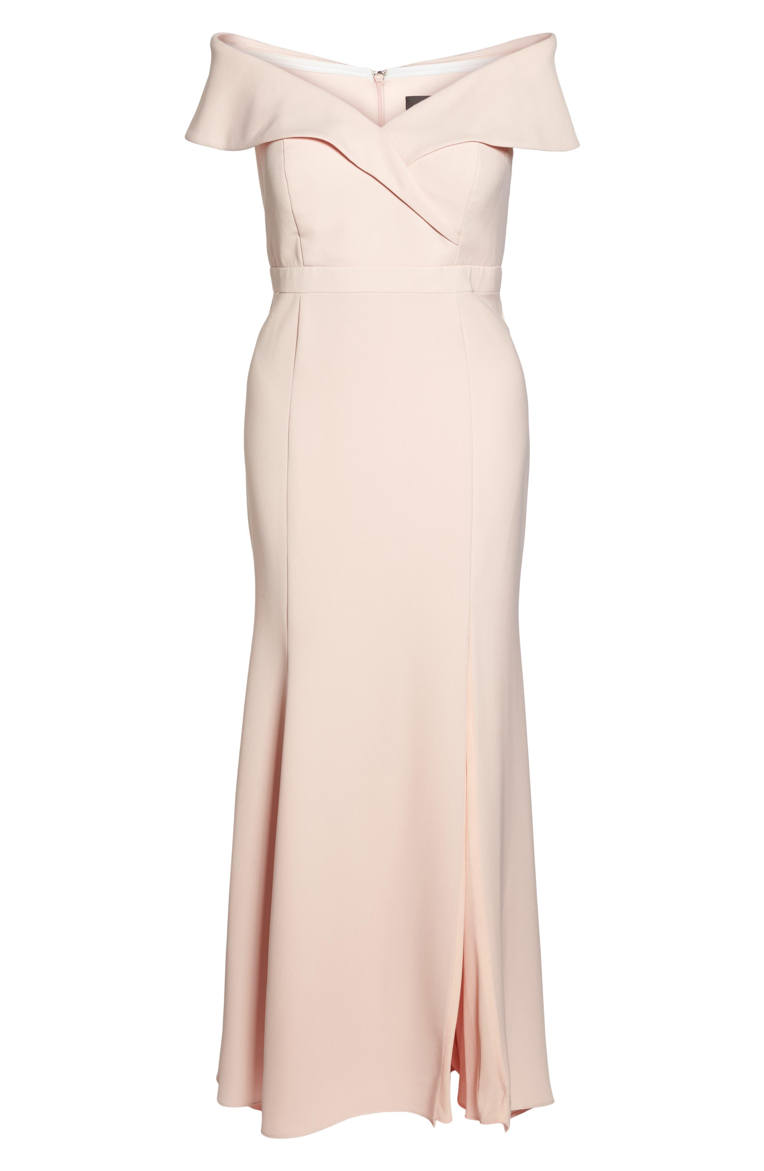 Off the Shoulder Front Slit Crepe Dress,                             Alternate thumbnail 6, color,                             Blush
