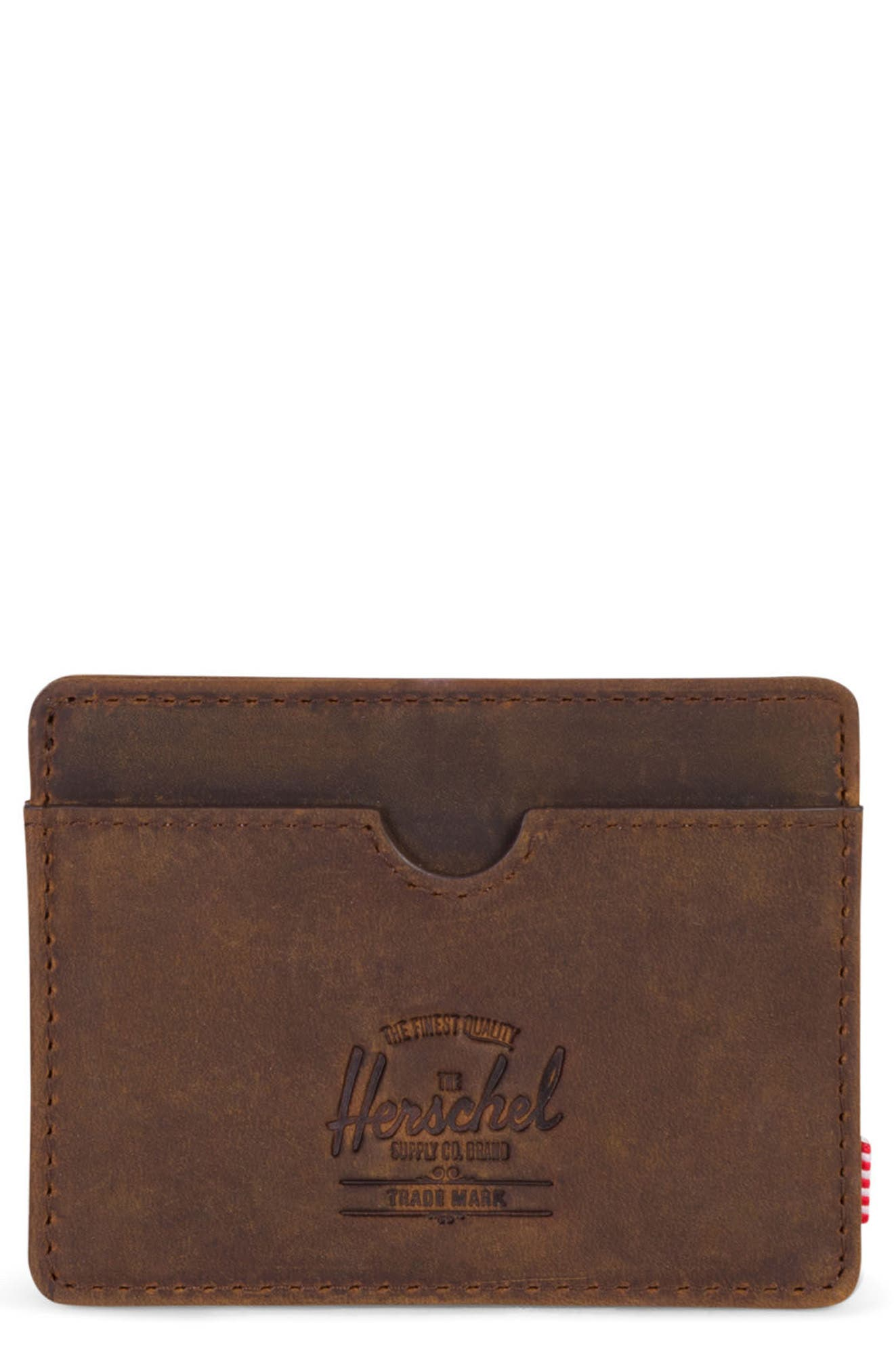 Charlie Leather Card Case,                             Main thumbnail 1, color,                             Brown