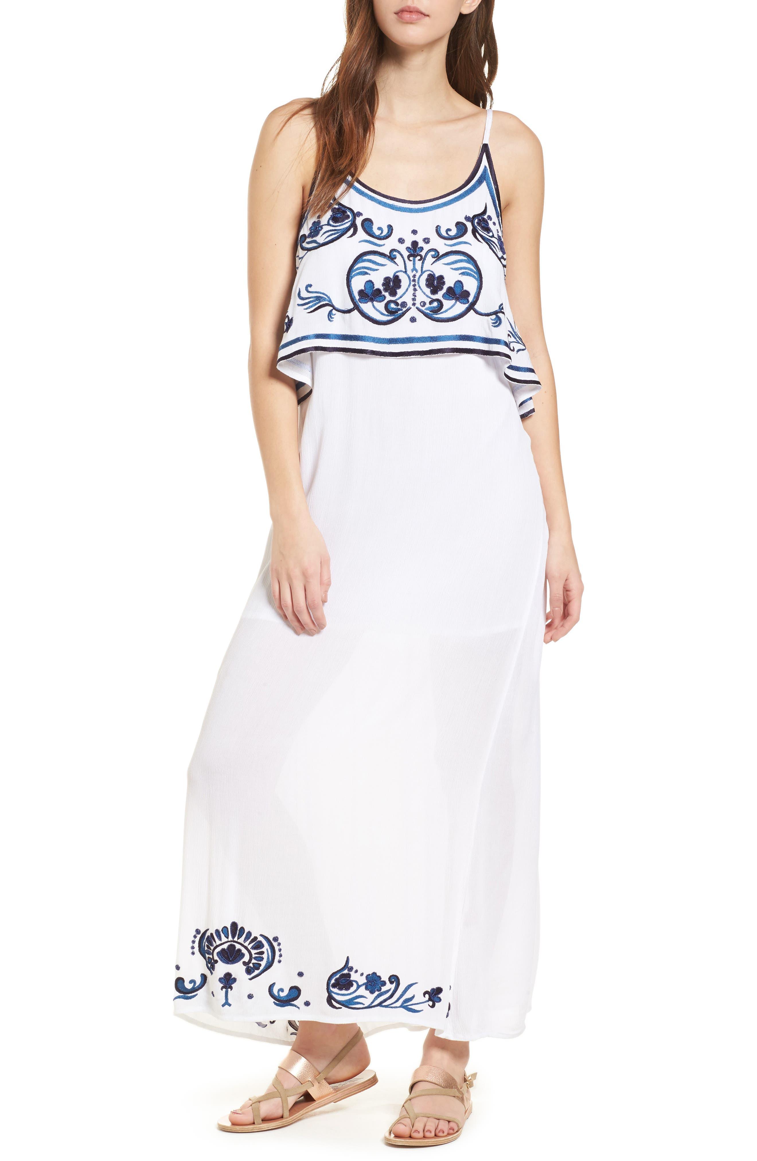 Mediterranean Embroidered Maxi Dress,                         Main,                         color, White/ Blue