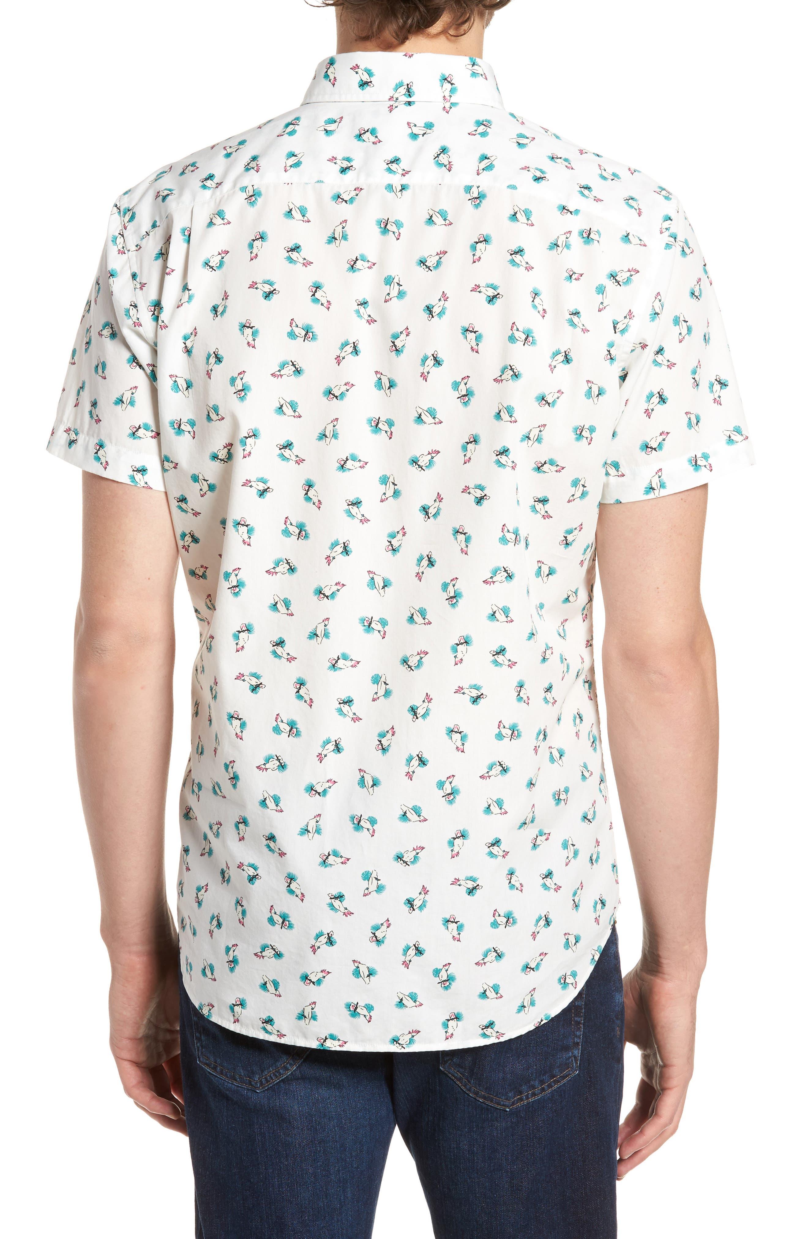 Slim Fit Print Short Sleeve Sport Shirt,                             Alternate thumbnail 3, color,                             Cockatoo - Latigo Bay