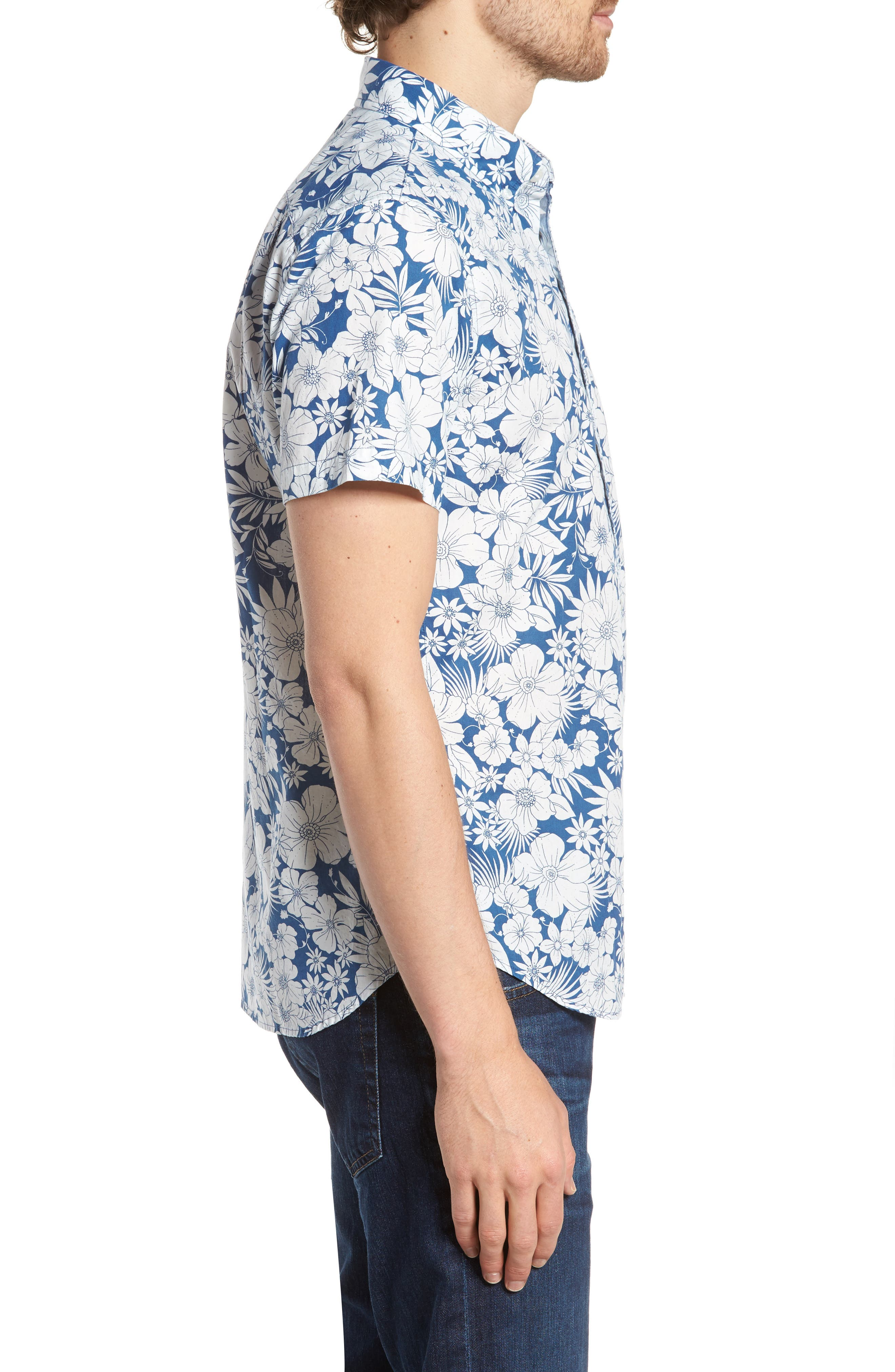 Slim Fit Print Short Sleeve Sport Shirt,                             Alternate thumbnail 4, color,                             Harland Floral - Maritime Blue