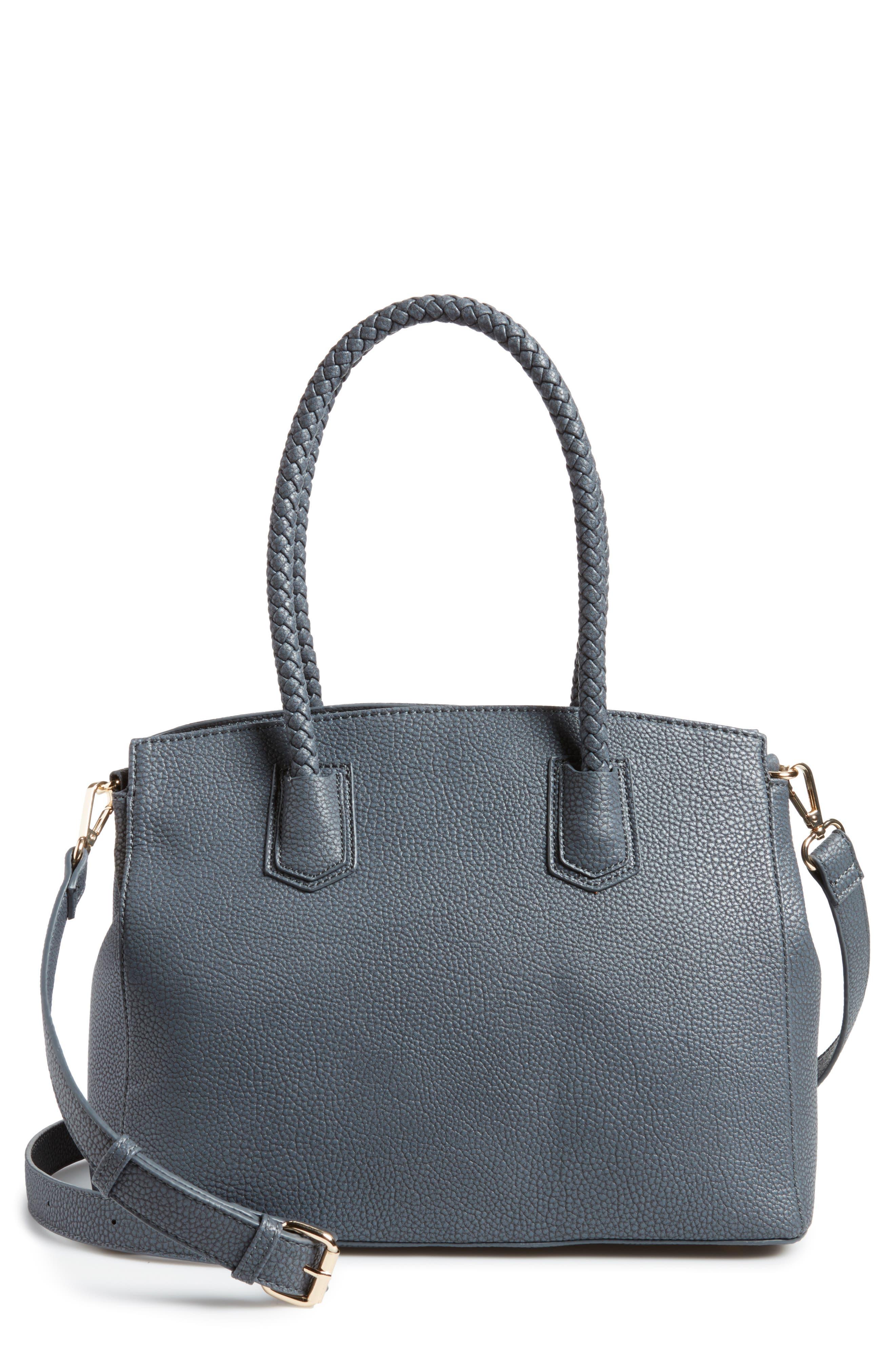 Lexington Faux Leather Satchel,                         Main,                         color, Slate Blue