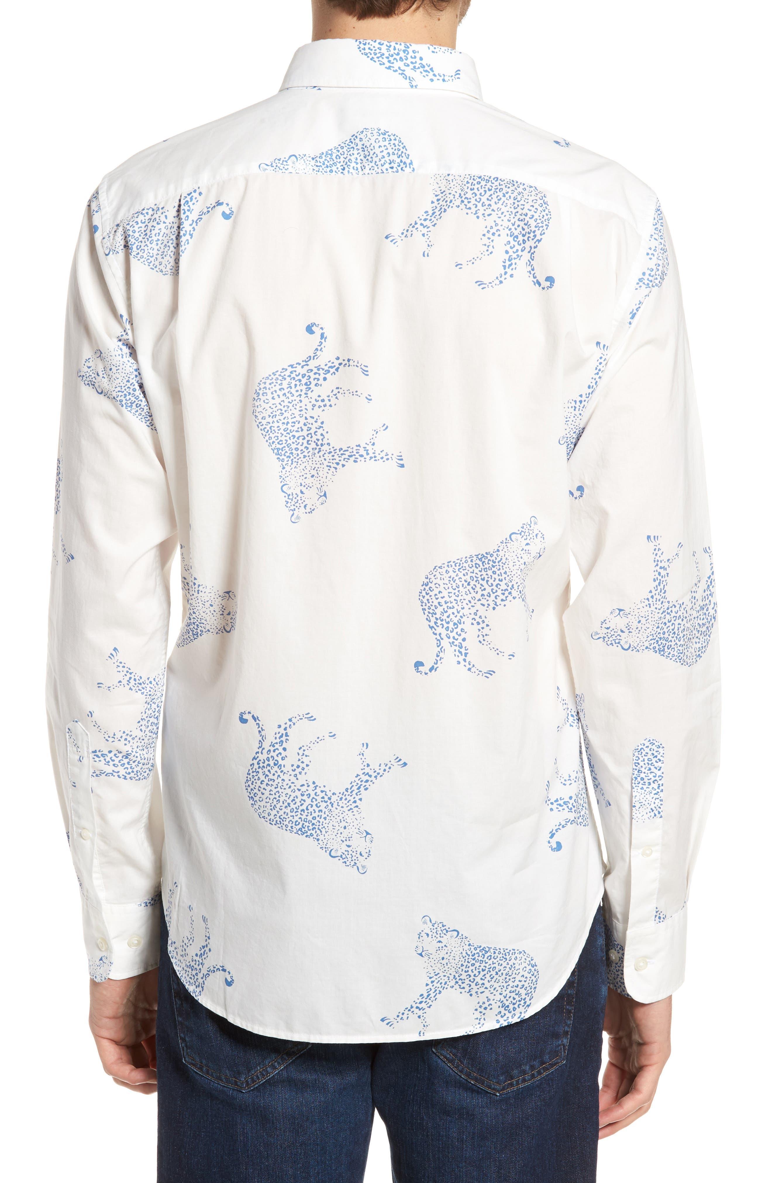 Summerweight Slim Fit Print Sport Shirt,                             Alternate thumbnail 3, color,                             Big Cheetah - Maritime Blue
