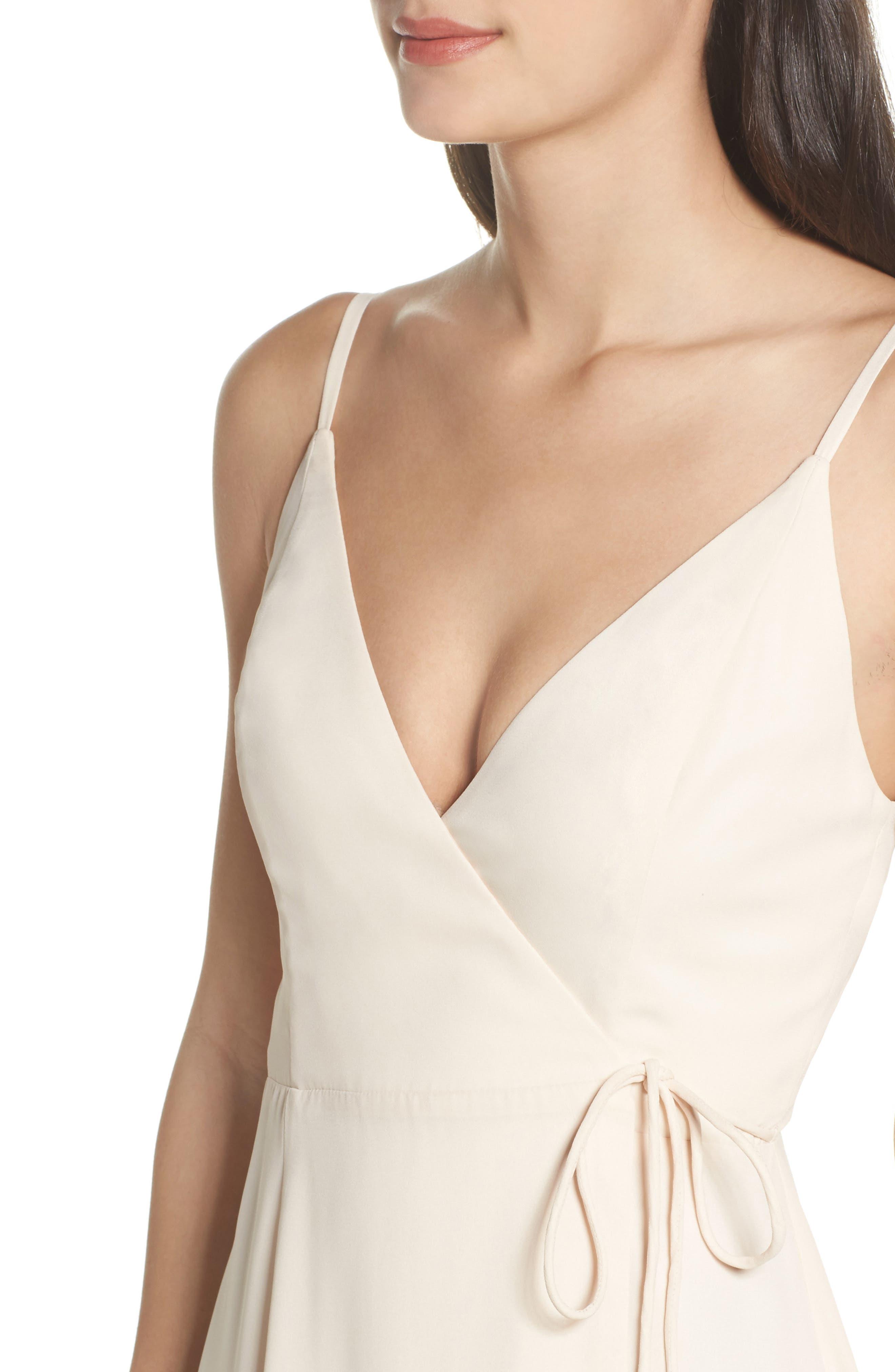 Tilbury Georgette Wrap Maxi Dress,                             Alternate thumbnail 4, color,                             Champagne