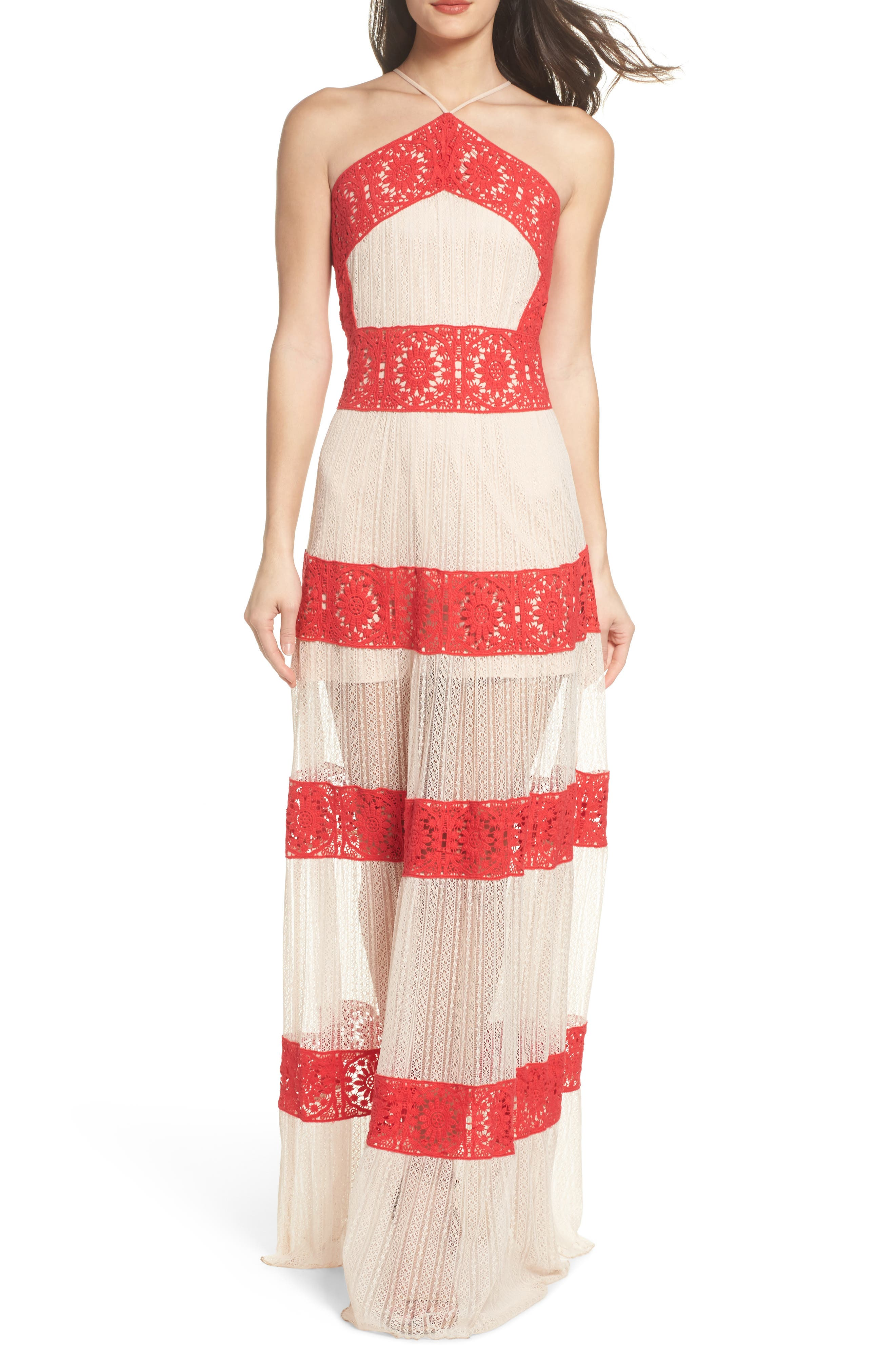 Ophelia Two-Tone Lace Maxi Dress,                         Main,                         color, Red/ Nude