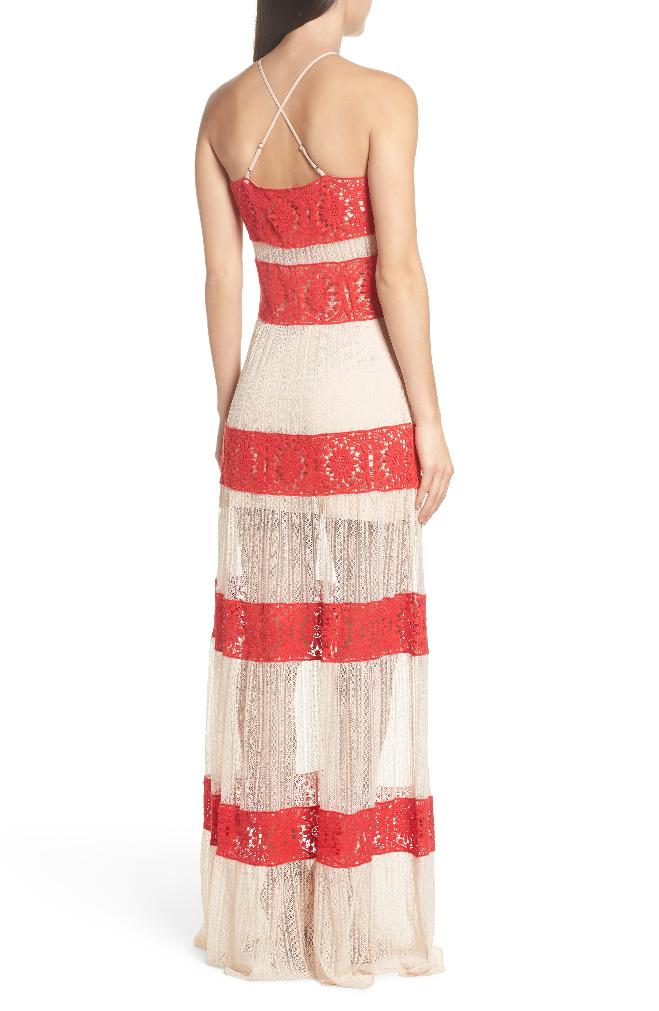 Ophelia Two-Tone Lace Maxi Dress,                             Alternate thumbnail 2, color,                             Red/ Nude