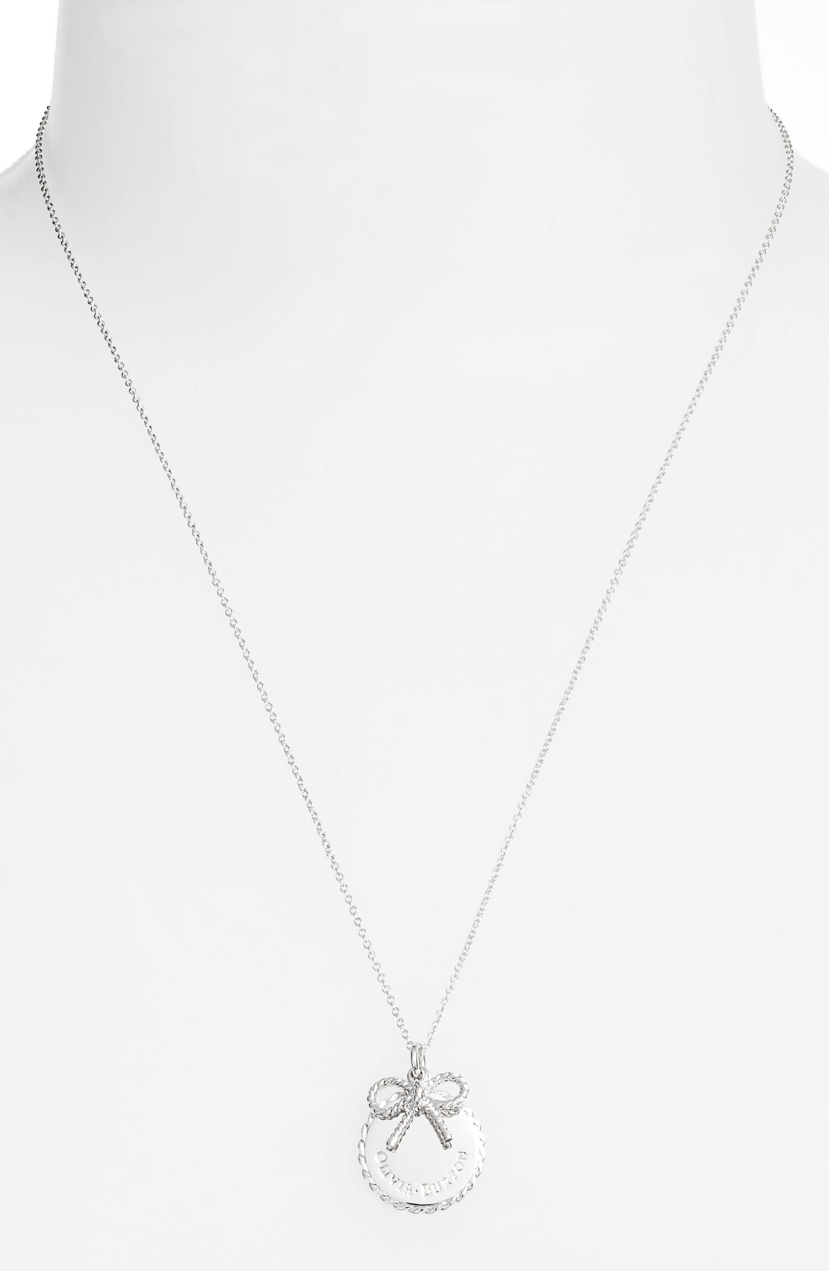 Coin Bow Pendant Necklace,                             Alternate thumbnail 2, color,                             Silver