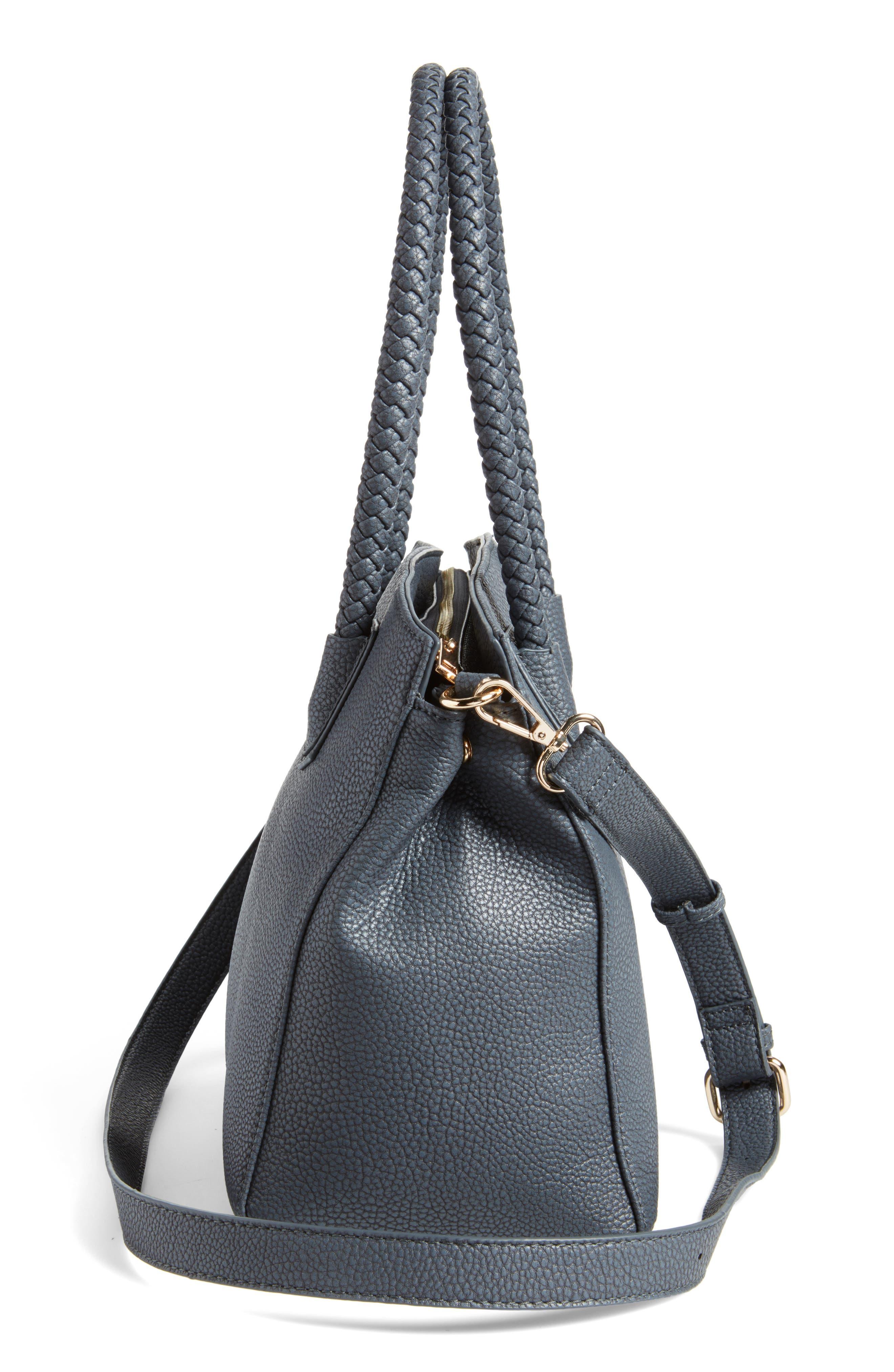 Lexington Faux Leather Satchel,                             Alternate thumbnail 5, color,                             Slate Blue