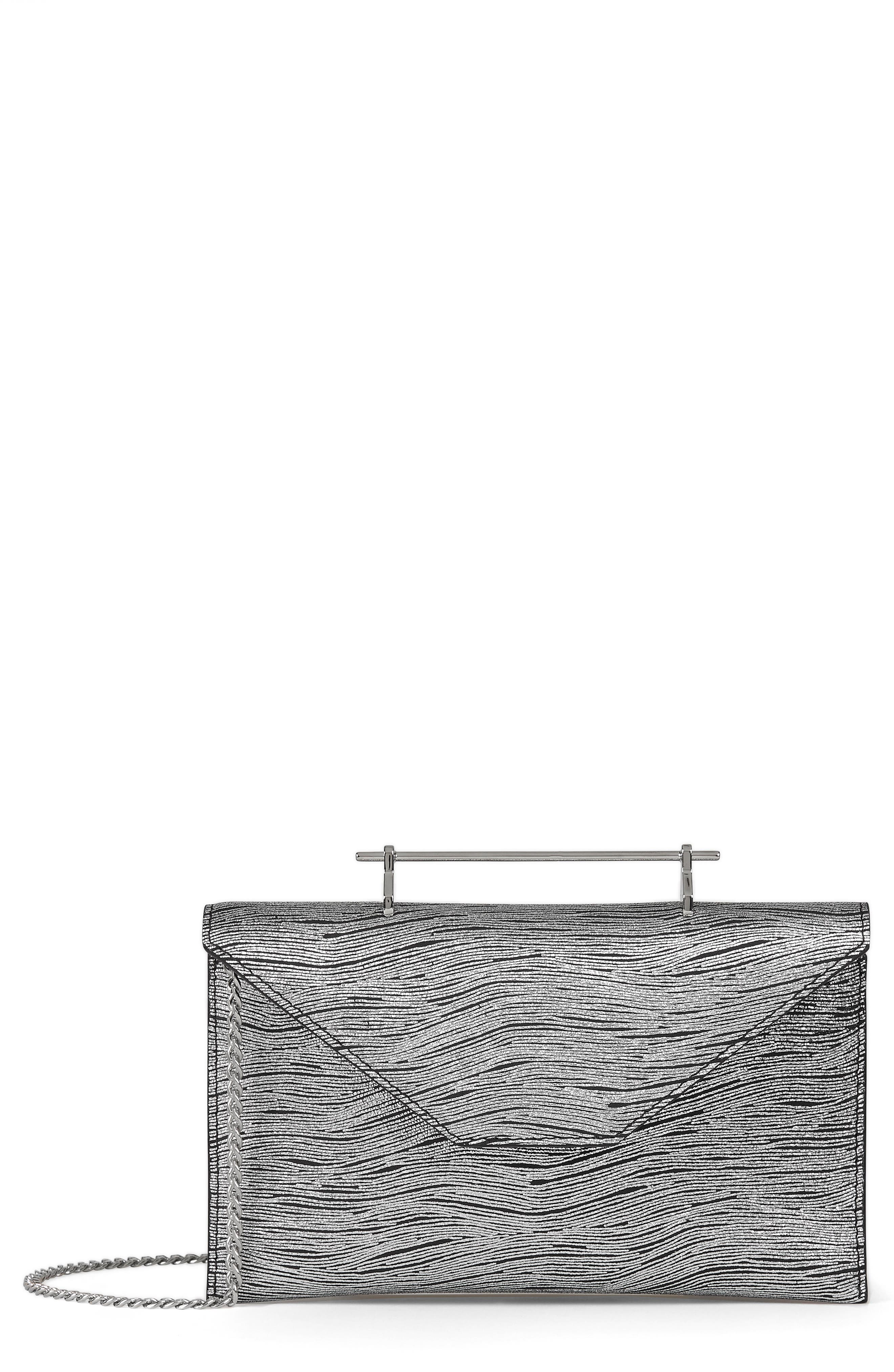 M2Malletier Annabelle Metallic Calfskin Leather Clutch