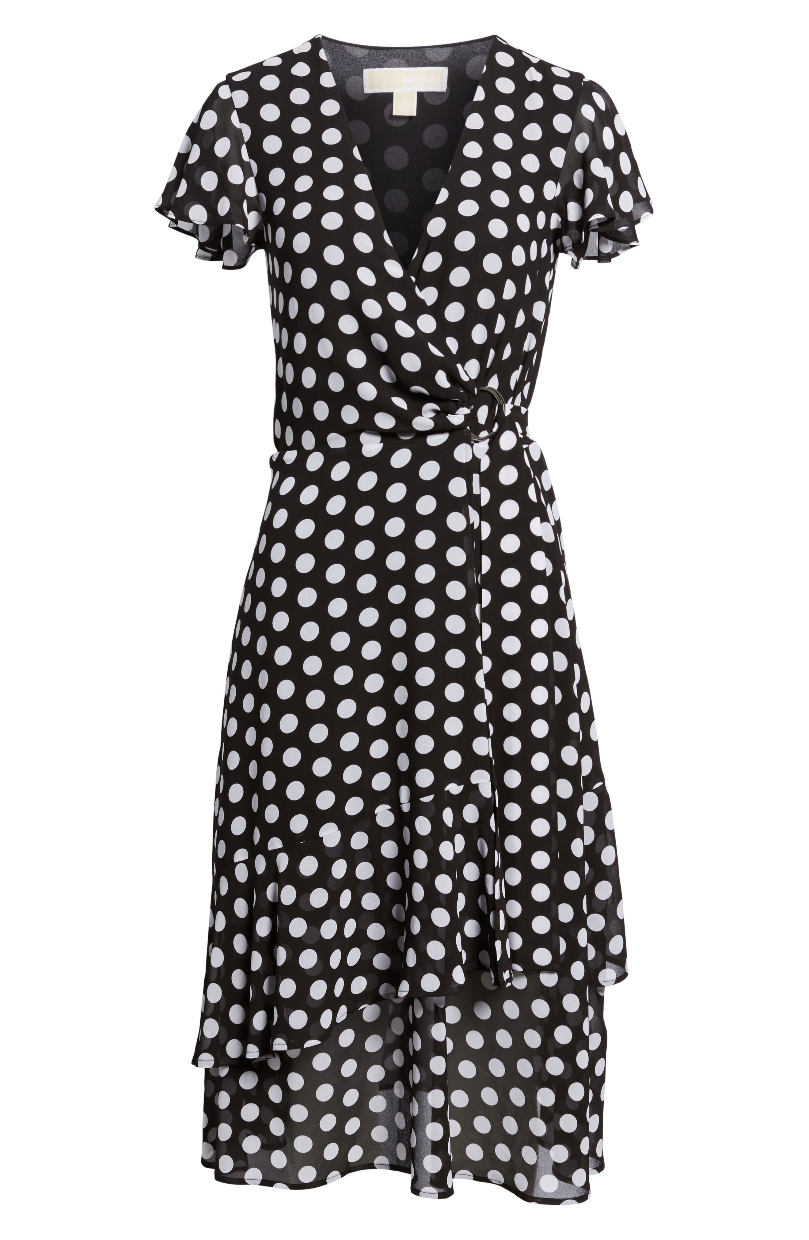 Simple Dot Wrap Dress,                             Alternate thumbnail 6, color,                             Black/ White