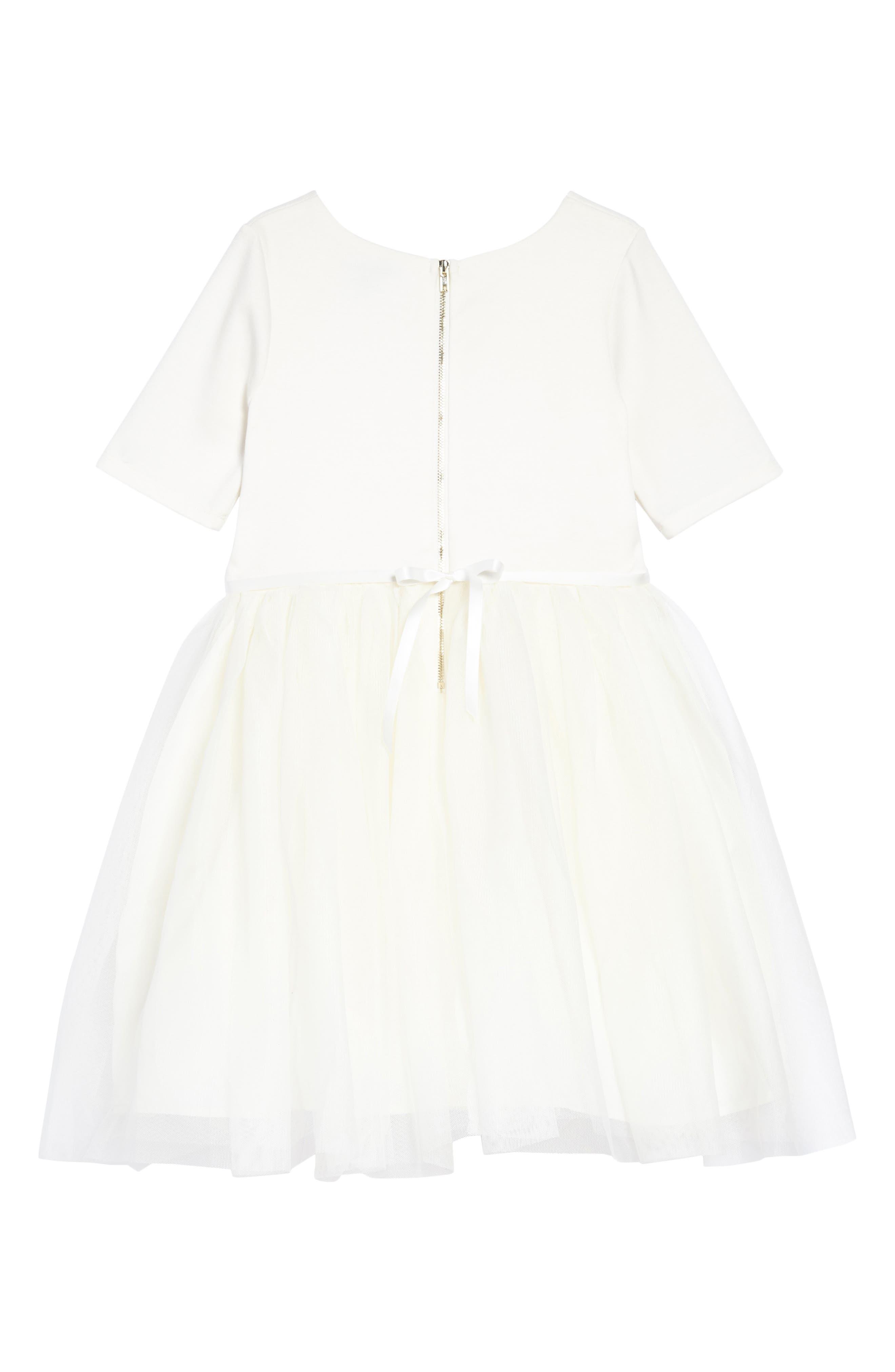 Embellished Ponte & Tulle Dress,                             Alternate thumbnail 2, color,                             Ivory