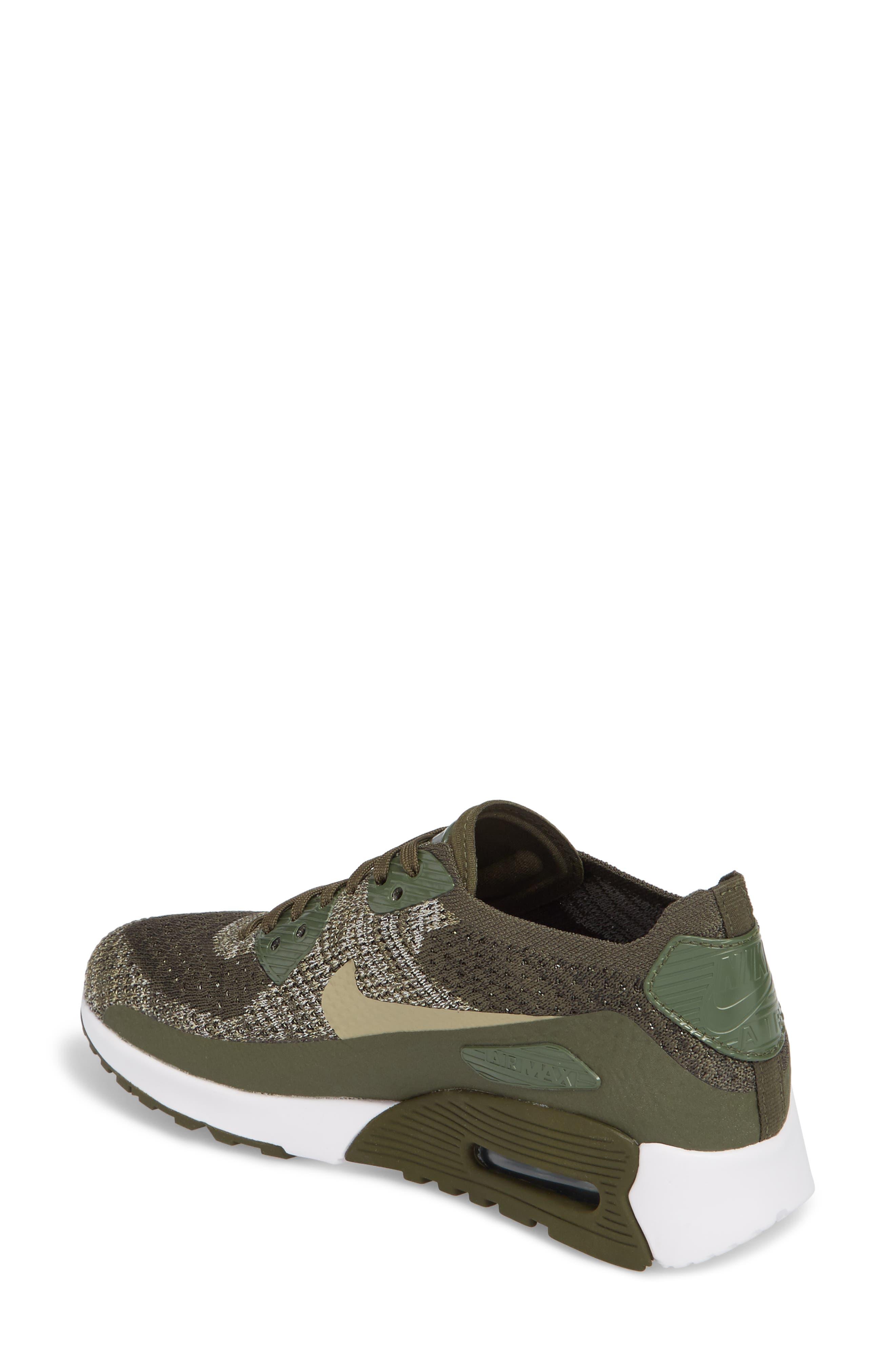 Air Max 90 Flyknit Ultra 2.0 Sneaker,                             Alternate thumbnail 2, color,                             Cargo Khaki/ Neutral Olive
