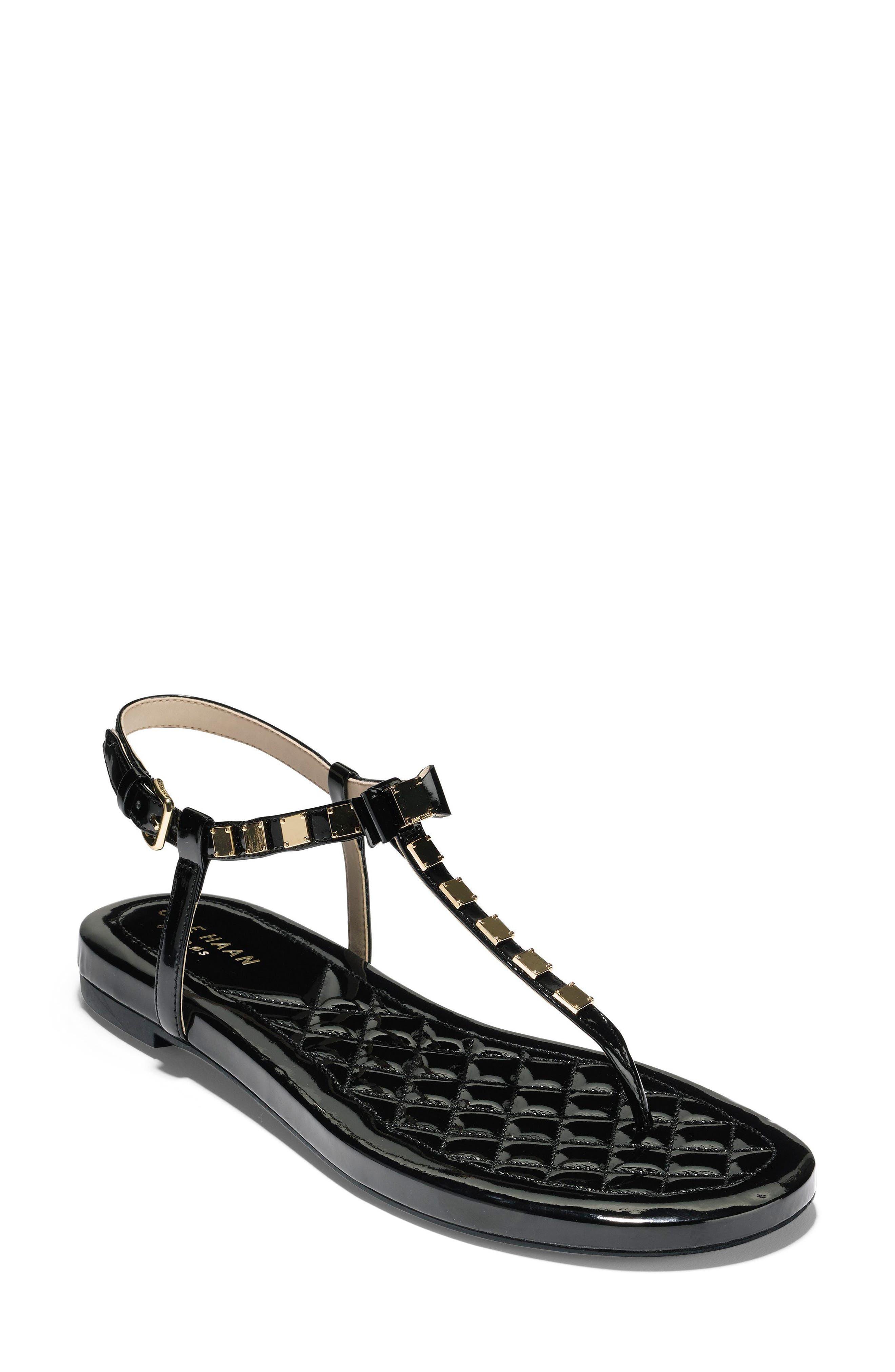 Tali Mini Bow Sandal,                             Main thumbnail 1, color,                             Black Patent