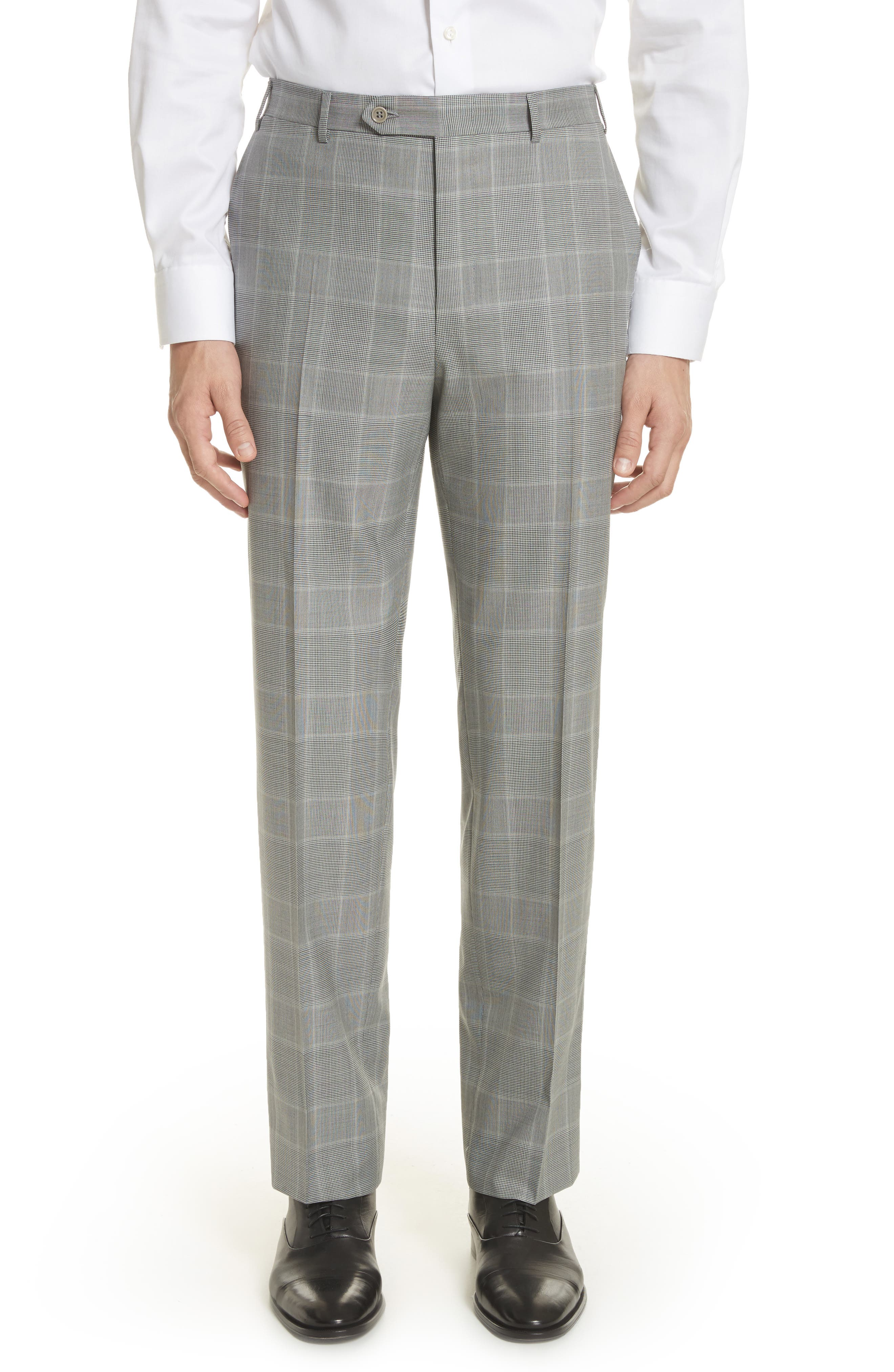 Classic Fit Plaid Wool Suit,                             Alternate thumbnail 6, color,                             Grey