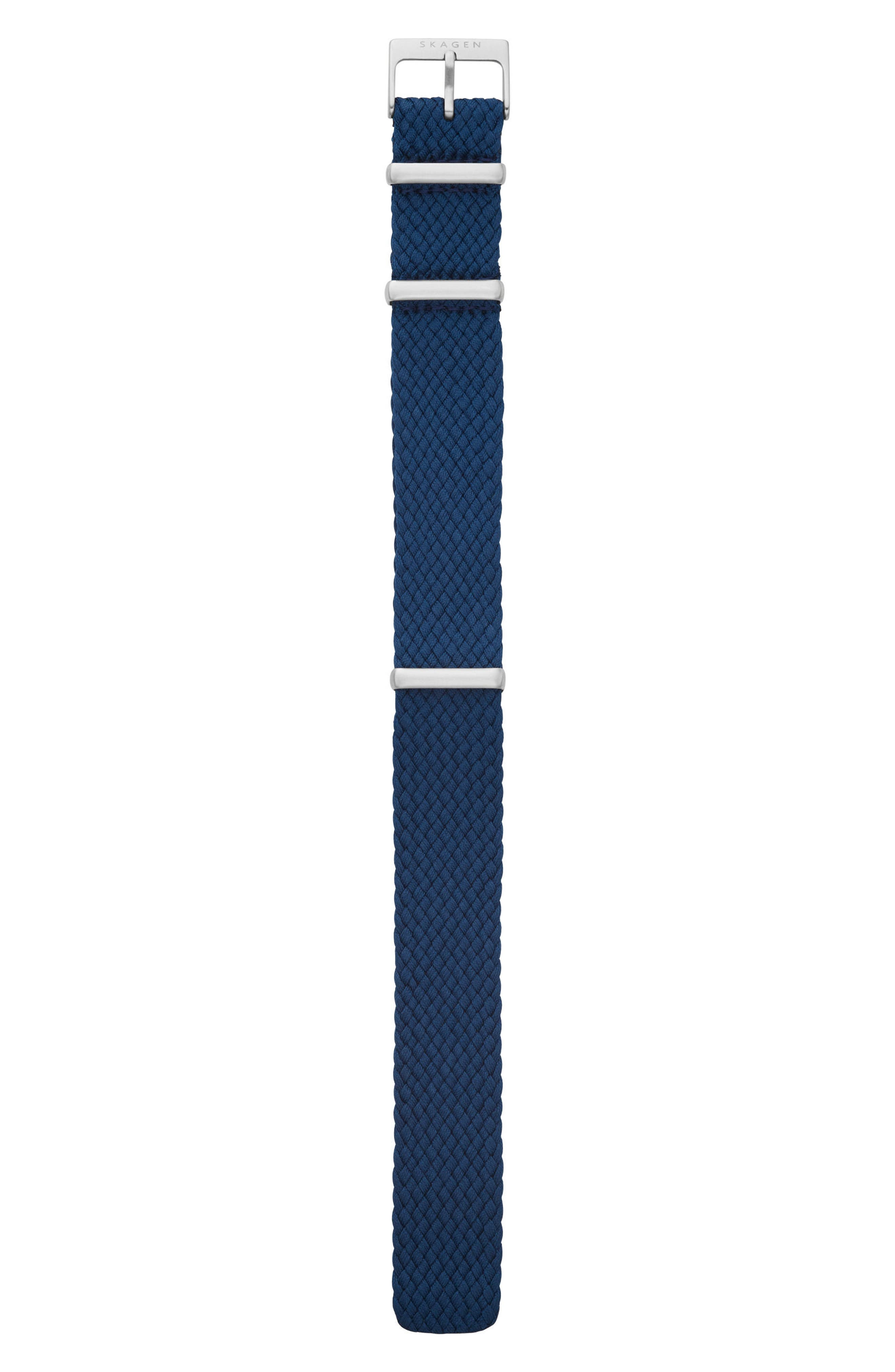 Woven Nylon Watch Strap, 20mm,                         Main,                         color, Navy