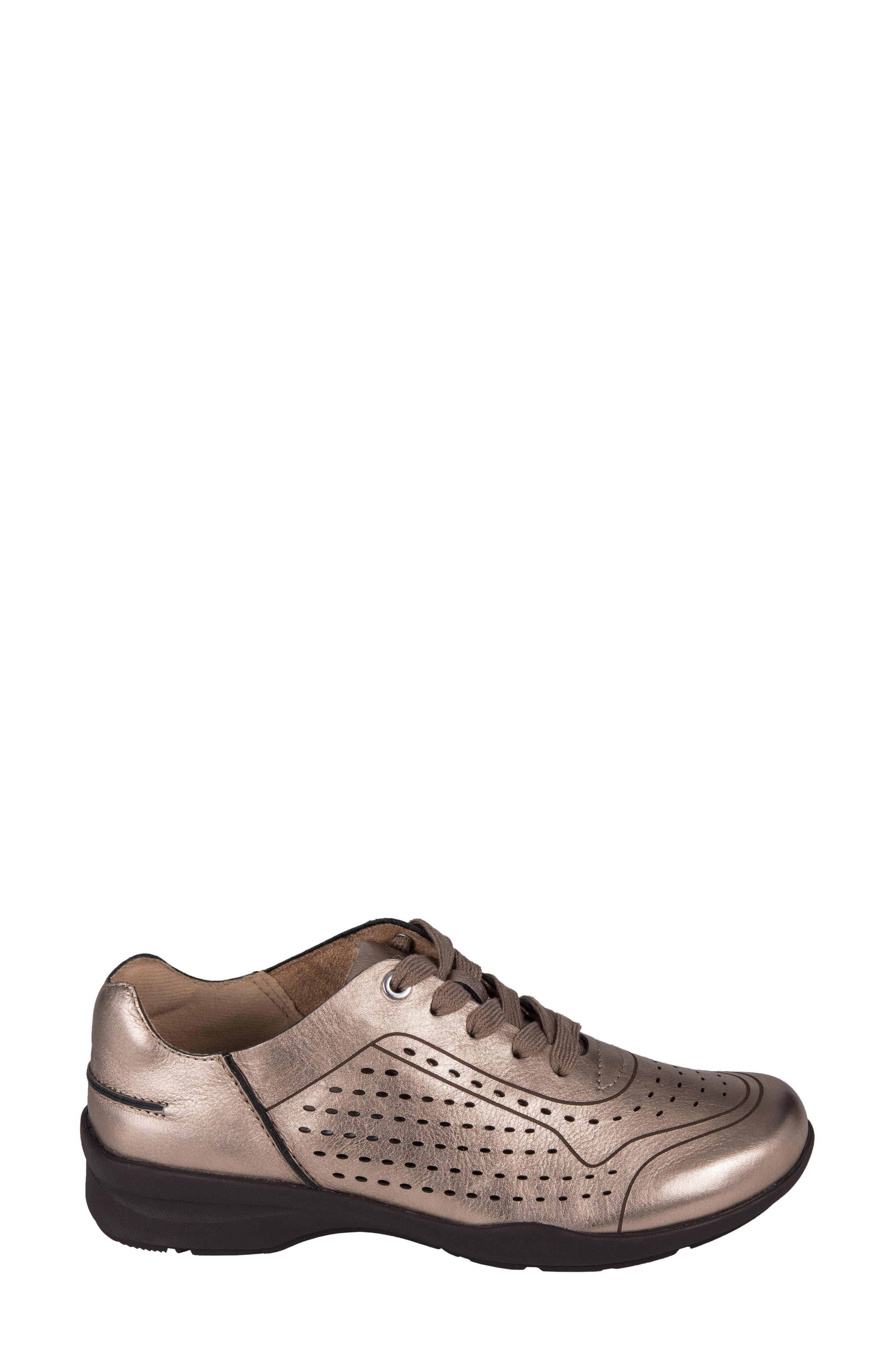 Serval Perforated Sneaker,                             Alternate thumbnail 3, color,                             Champagne Metallic Leather