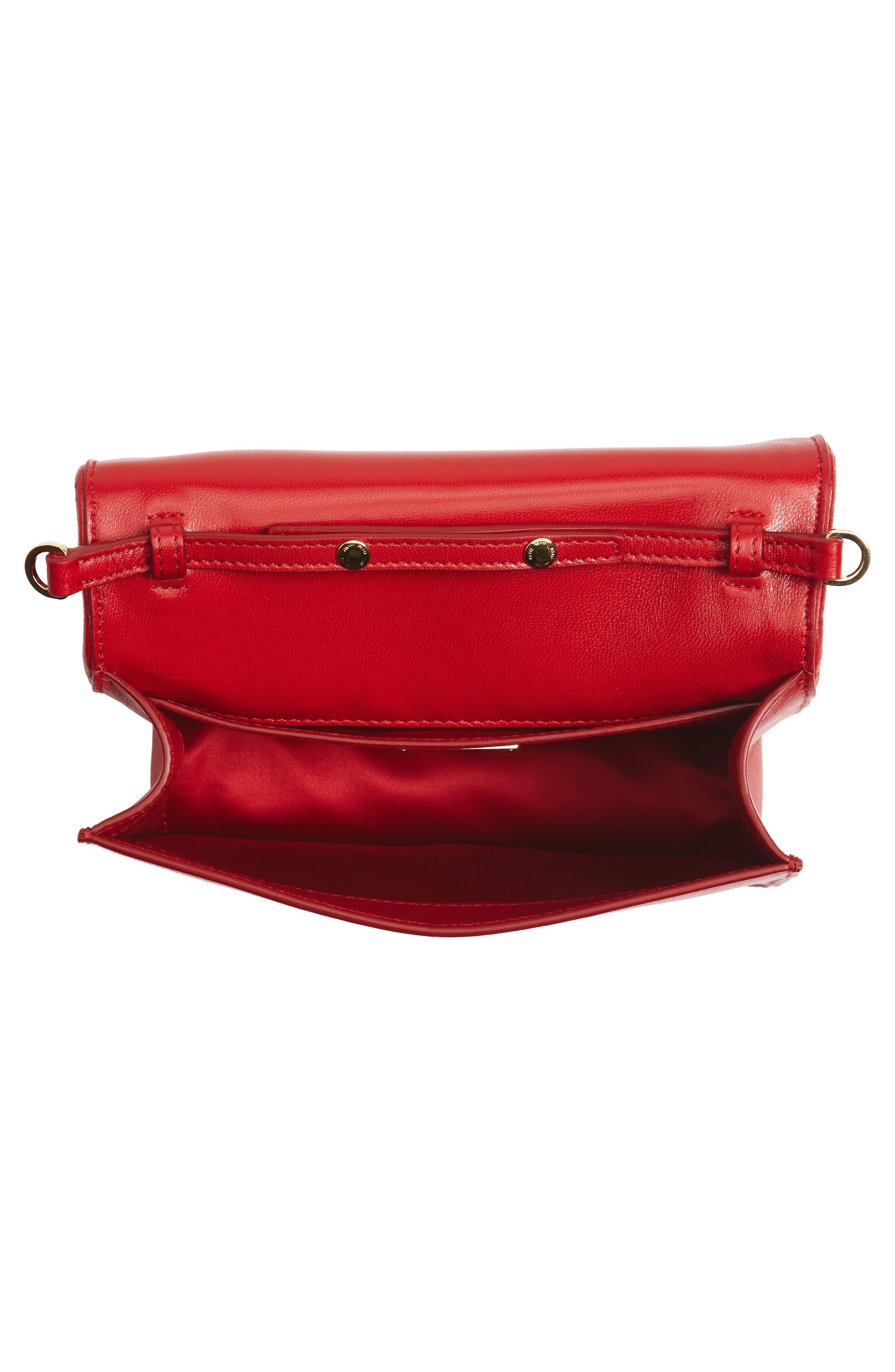 Matelassé Leather Shoulder Bag,                             Alternate thumbnail 4, color,                             Fuoco