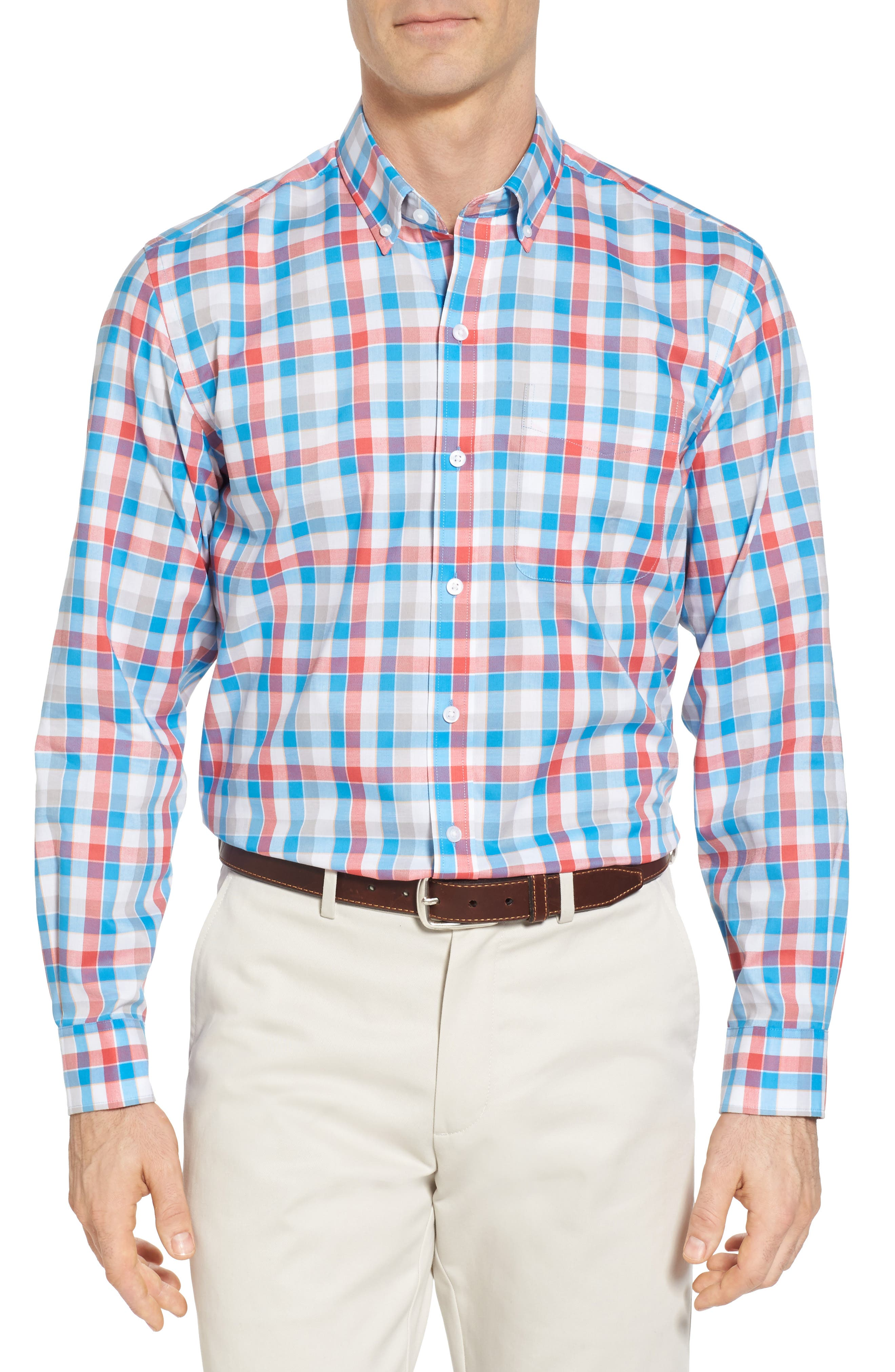 Dylan Easy Care Plaid Sport Shirt,                             Main thumbnail 1, color,                             Poolside