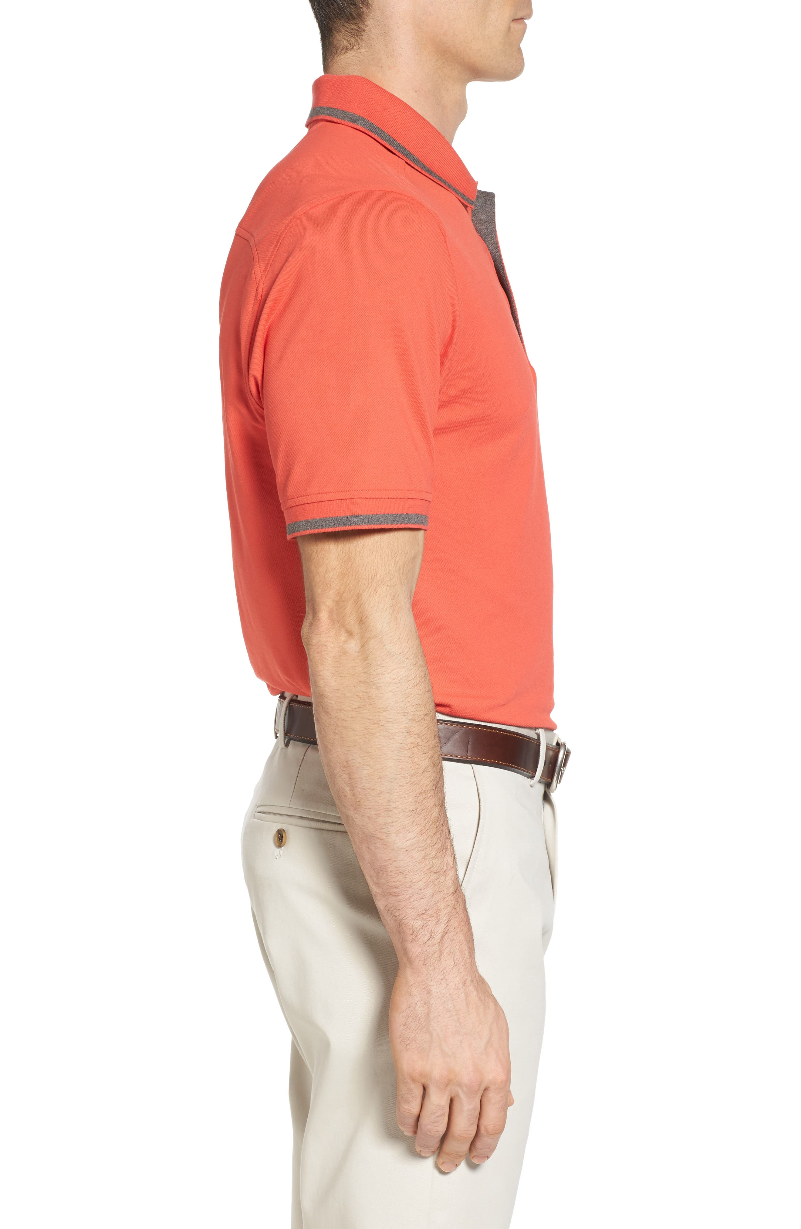 Tipped DryTec Polo,                             Alternate thumbnail 3, color,                             Tangelo