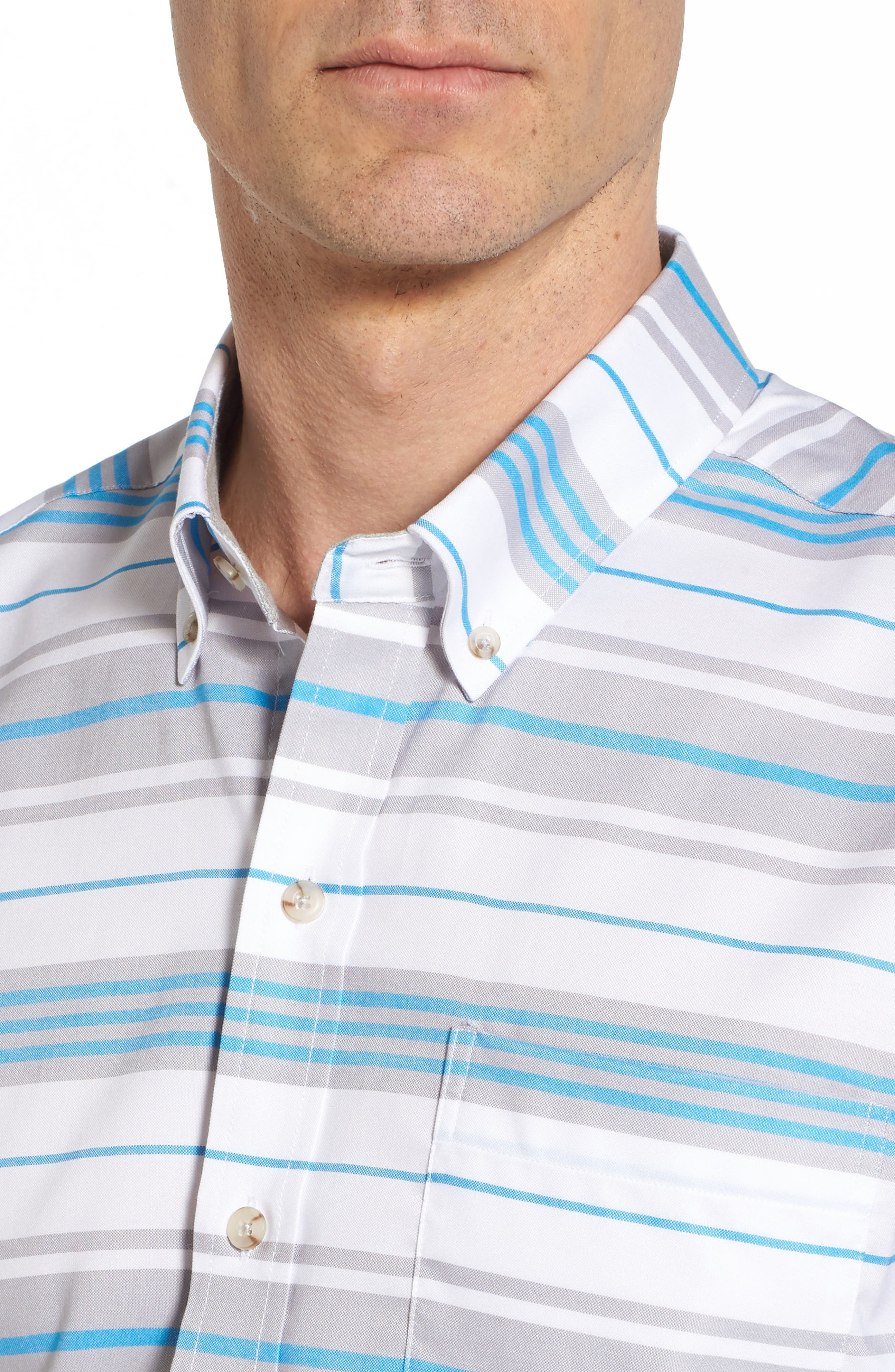 Parker Classic Fit Non-Iron Stripe Sport Shirt,                             Alternate thumbnail 4, color,                             Poolside