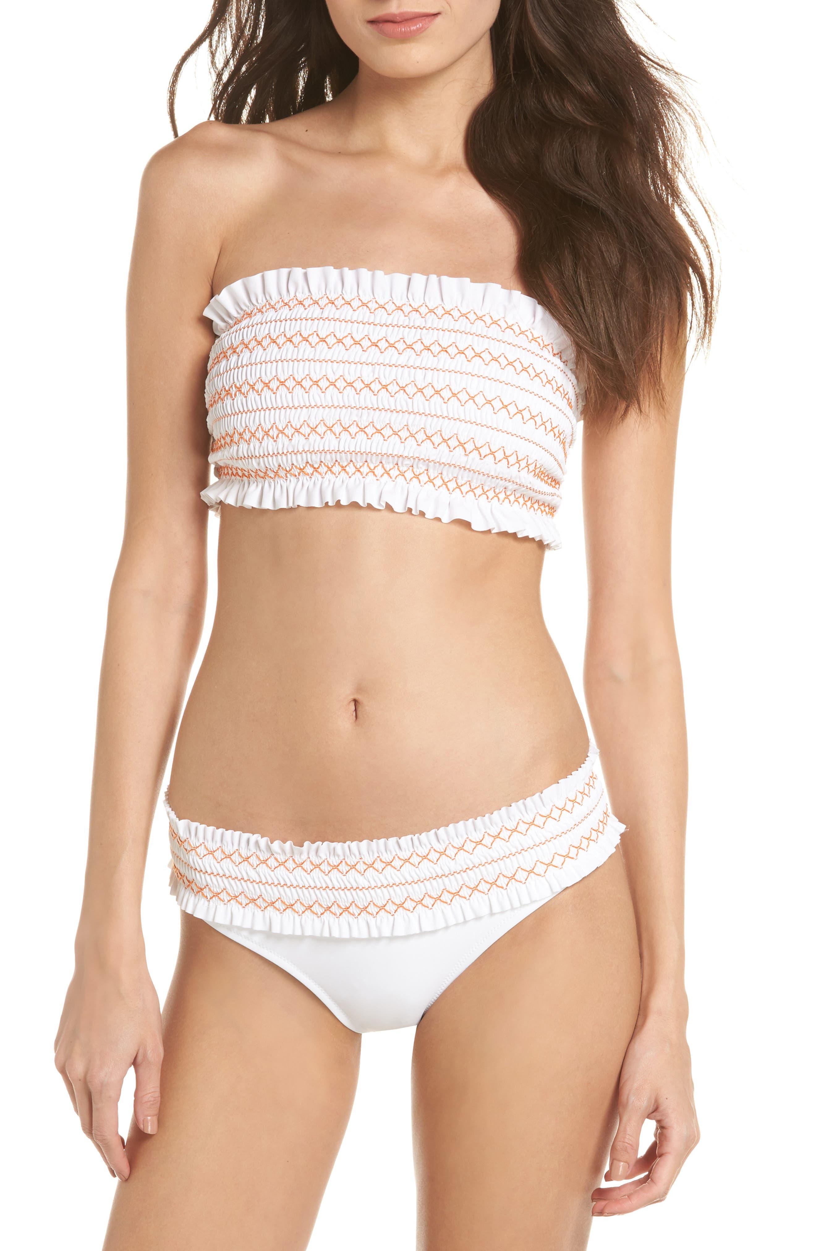 Costa Bandeau Bikini Top,                             Alternate thumbnail 5, color,                             White/ Fresh Melon
