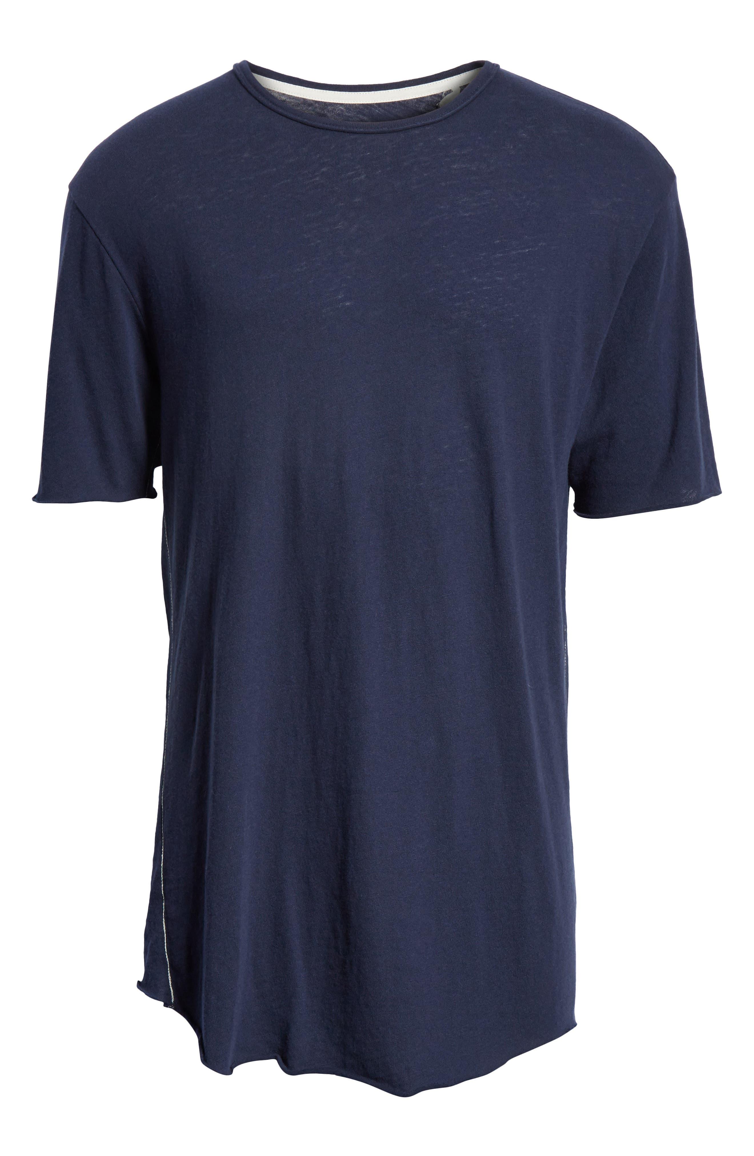 Hartley Crewneck Cotton & Linen T-Shirt,                             Alternate thumbnail 6, color,                             Navy