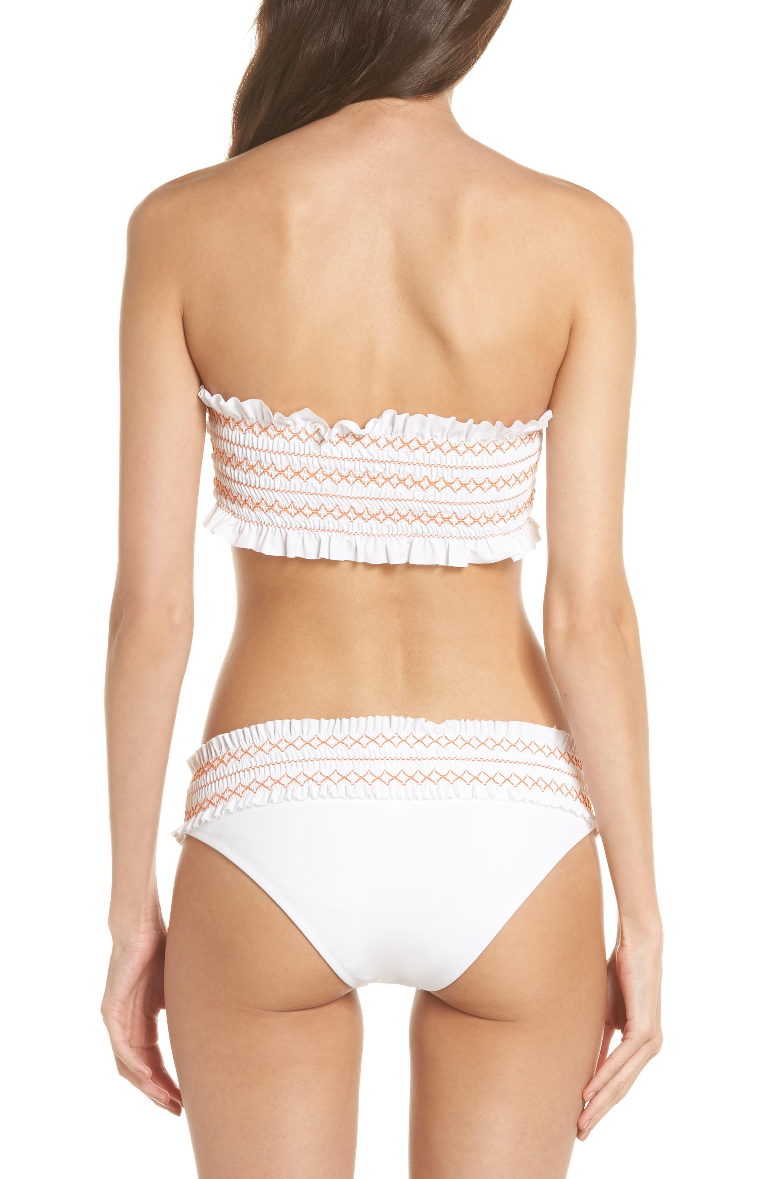 Costa Bandeau Bikini Top,                             Alternate thumbnail 6, color,                             White/ Fresh Melon