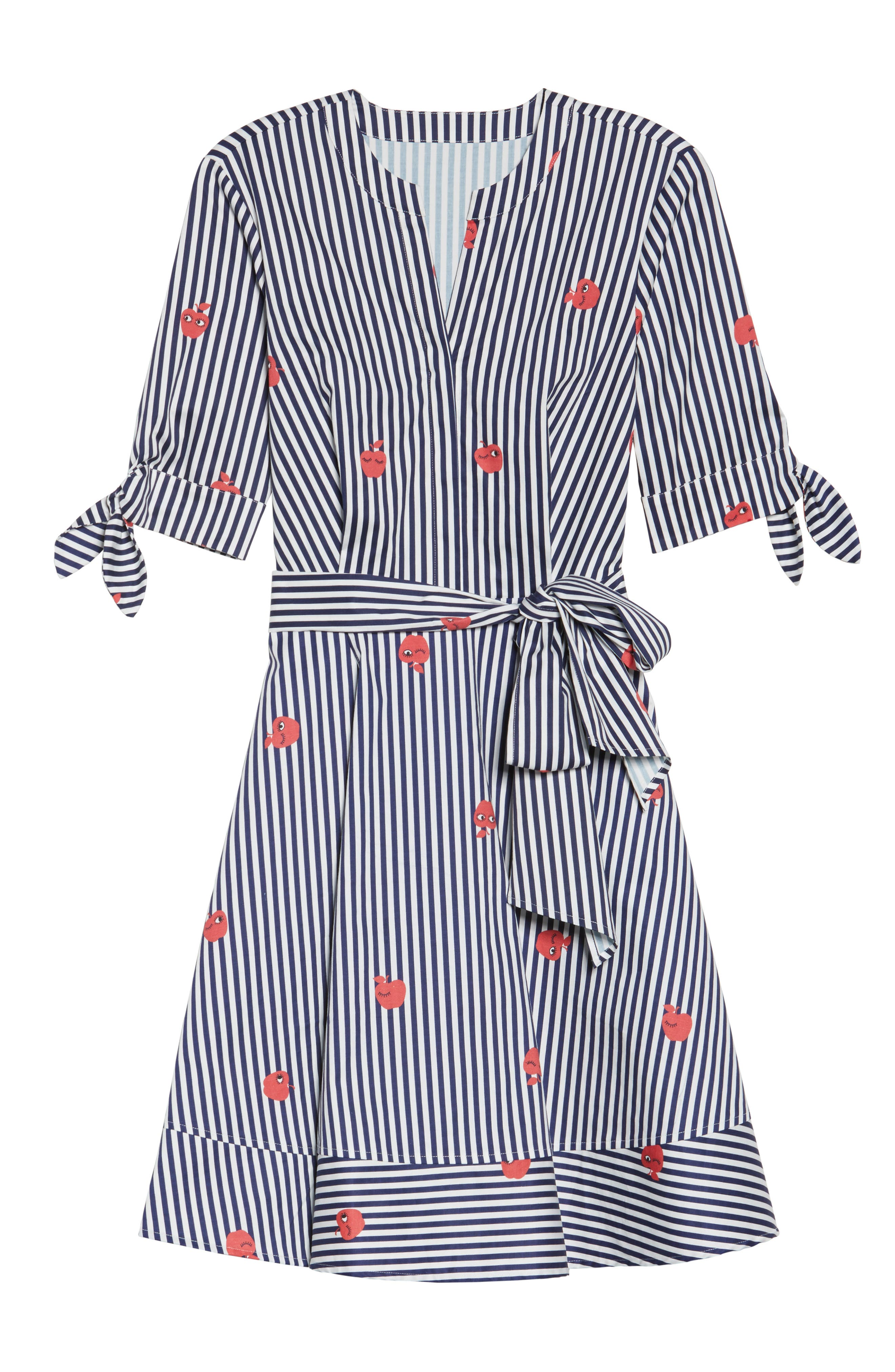 Bella Tie Front Fit & Flare Shirtdress,                             Alternate thumbnail 6, color,                             Navy/ White Stripe