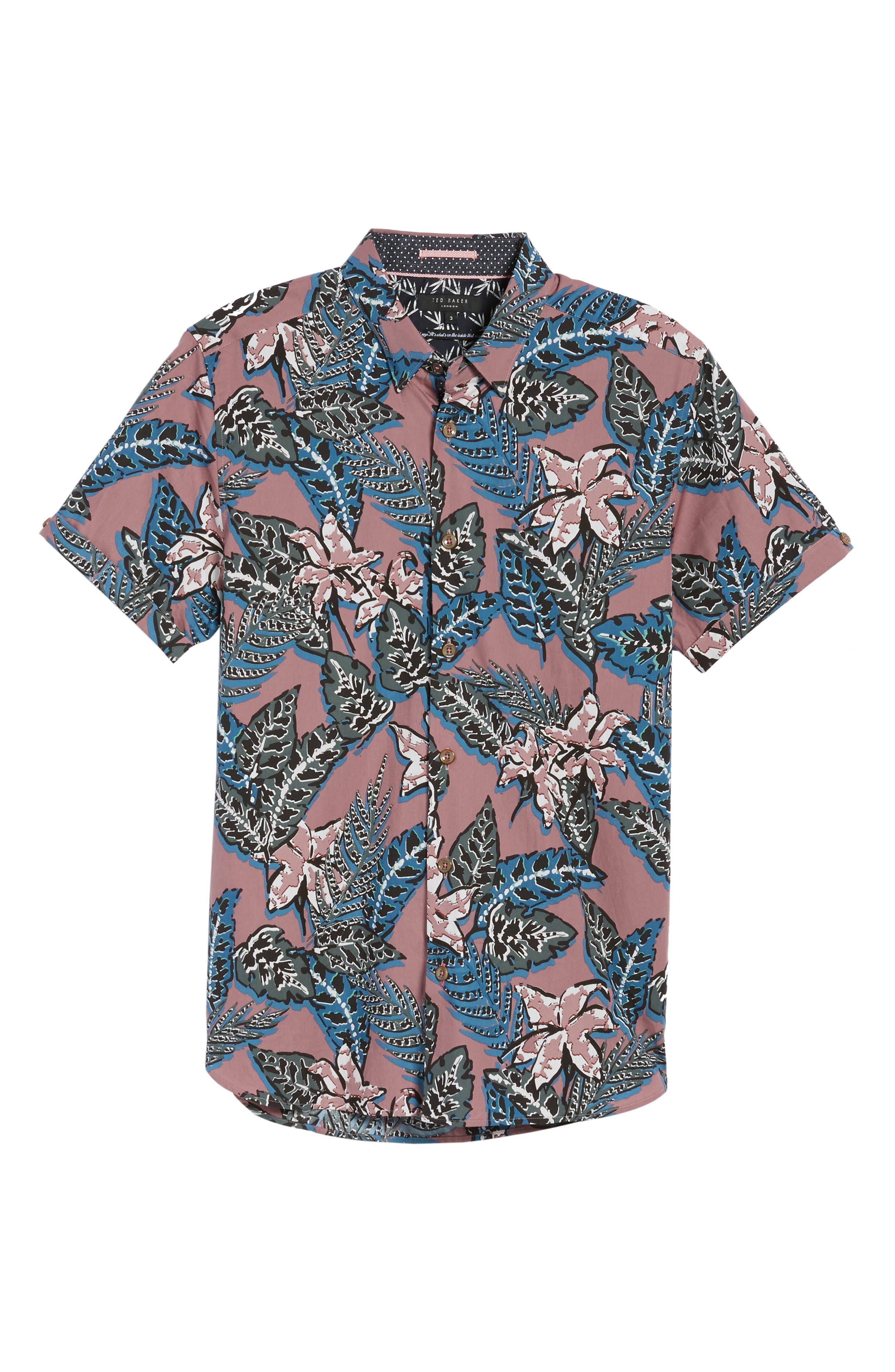 Clbtrop Trim Fit Tropical Woven Shirt,                             Alternate thumbnail 6, color,                             Pink