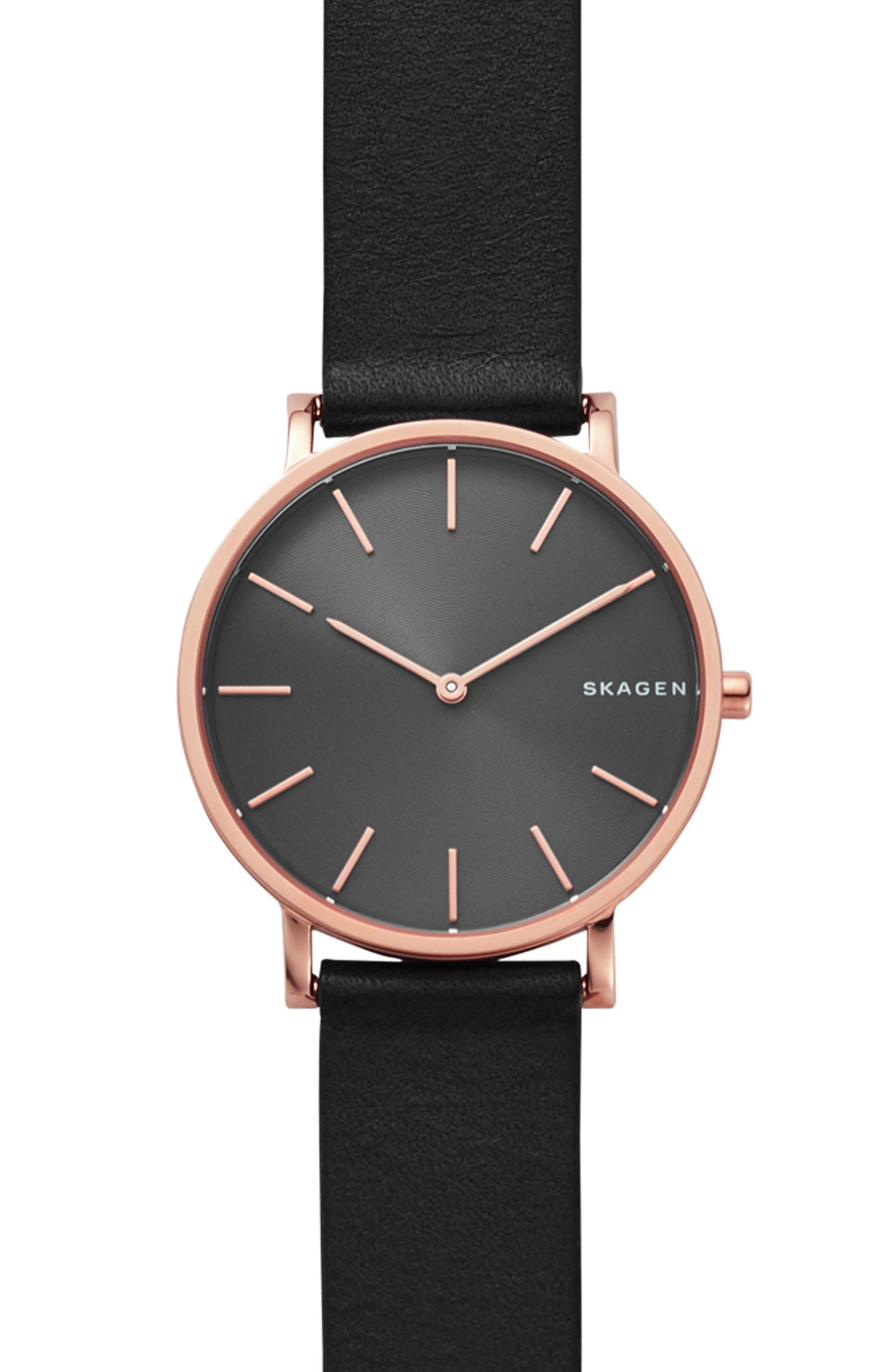 Hagen Slim Leather Strap Watch, 38mm,                             Main thumbnail 1, color,                             Black/ Rose Gold