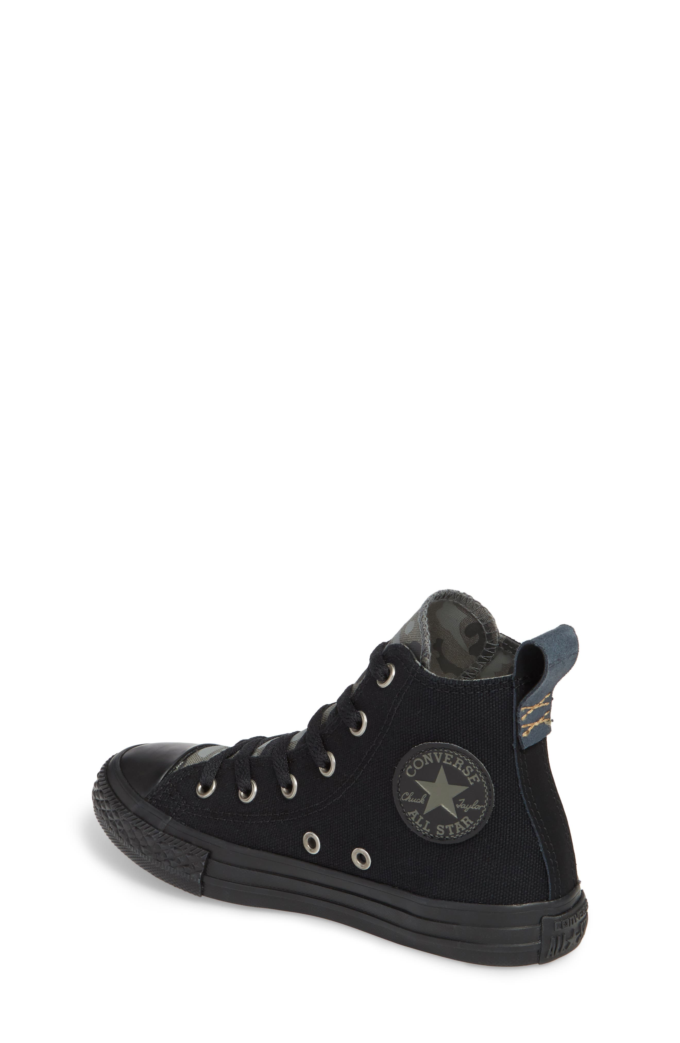 Chuck Taylor<sup>®</sup> All Star<sup>®</sup> Camo High Top Sneaker,                             Alternate thumbnail 2, color,                             Black
