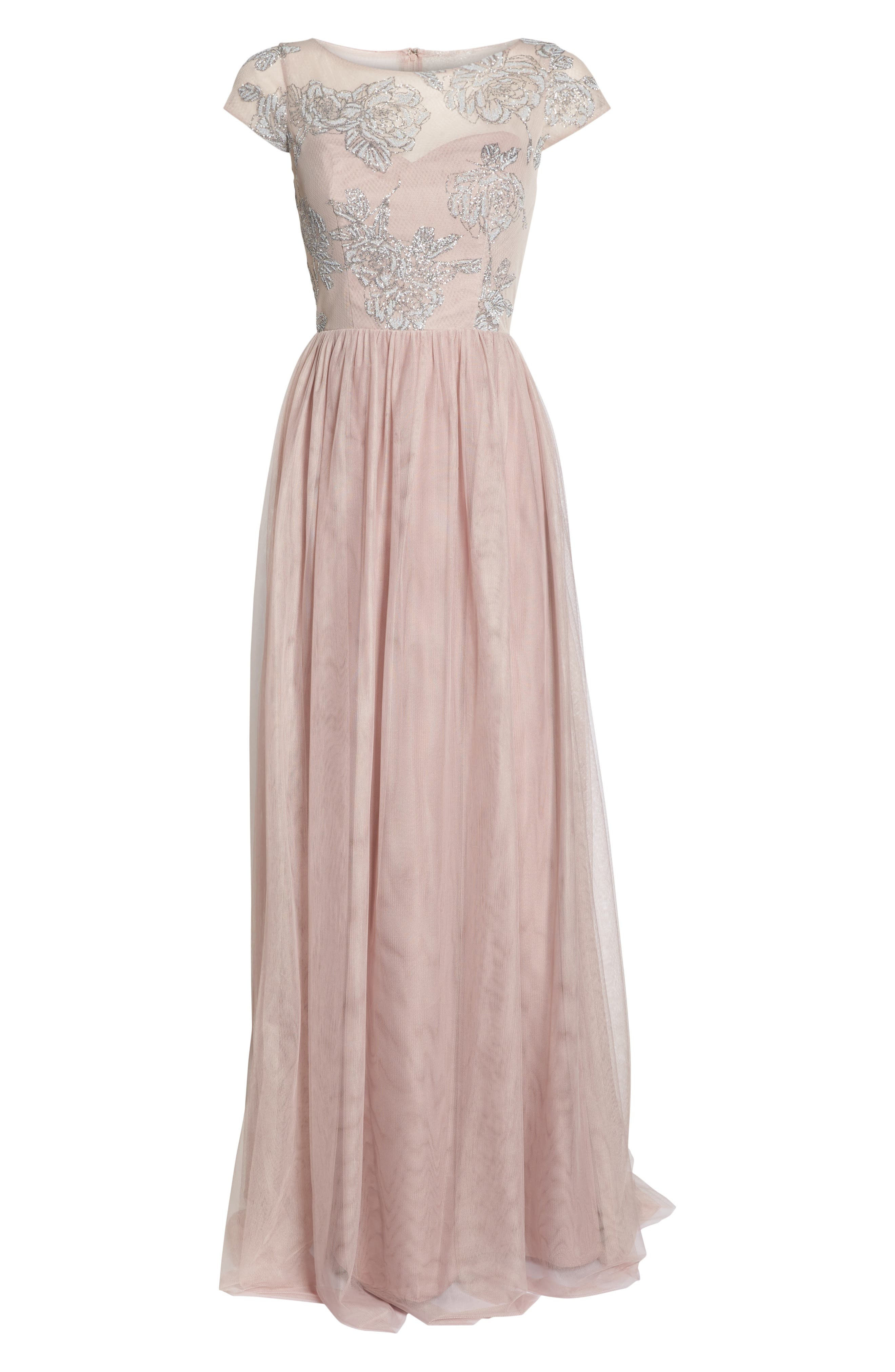 Embroidered Bodice Net Gown,                             Alternate thumbnail 7, color,                             Dusty Rose